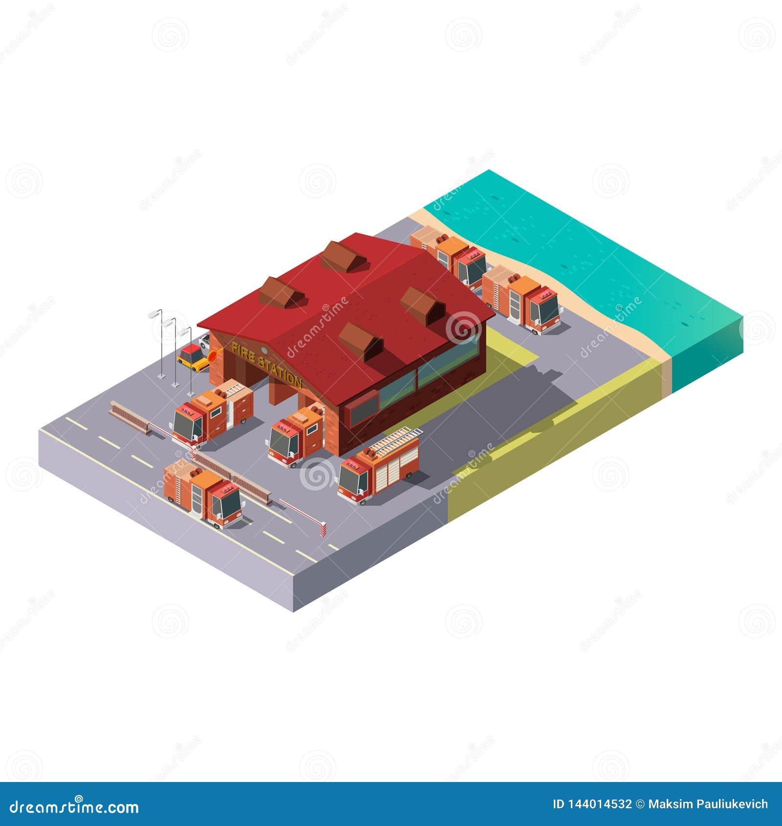 Διανυσματικός τρισδιάστατος isometric πυροσβεστικός σταθμός Δημοτική υπηρεσία