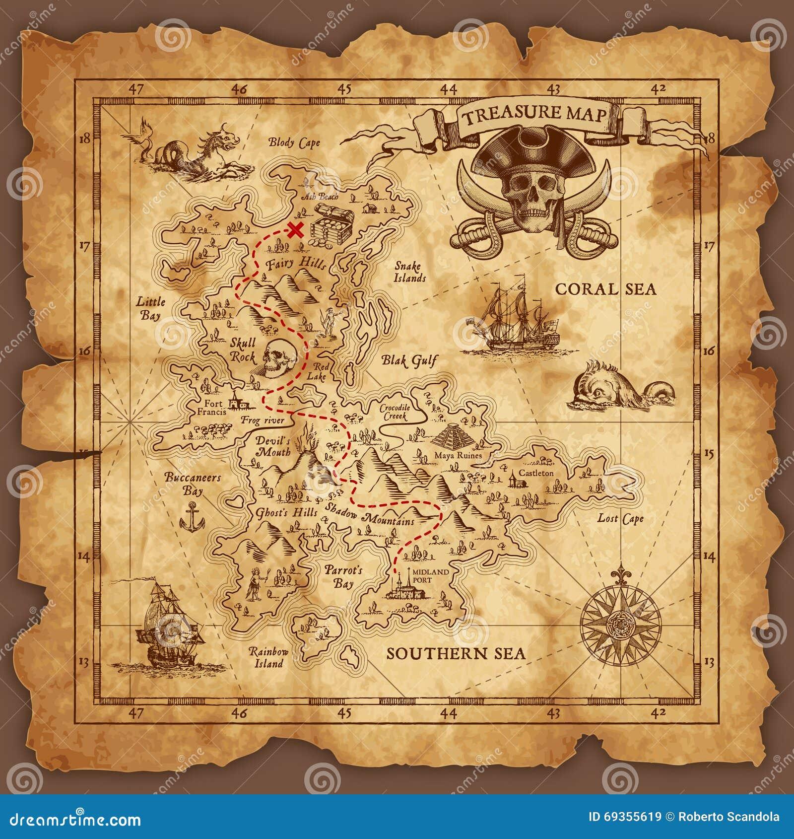 Διανυσματικός χάρτης θησαυρών πειρατών