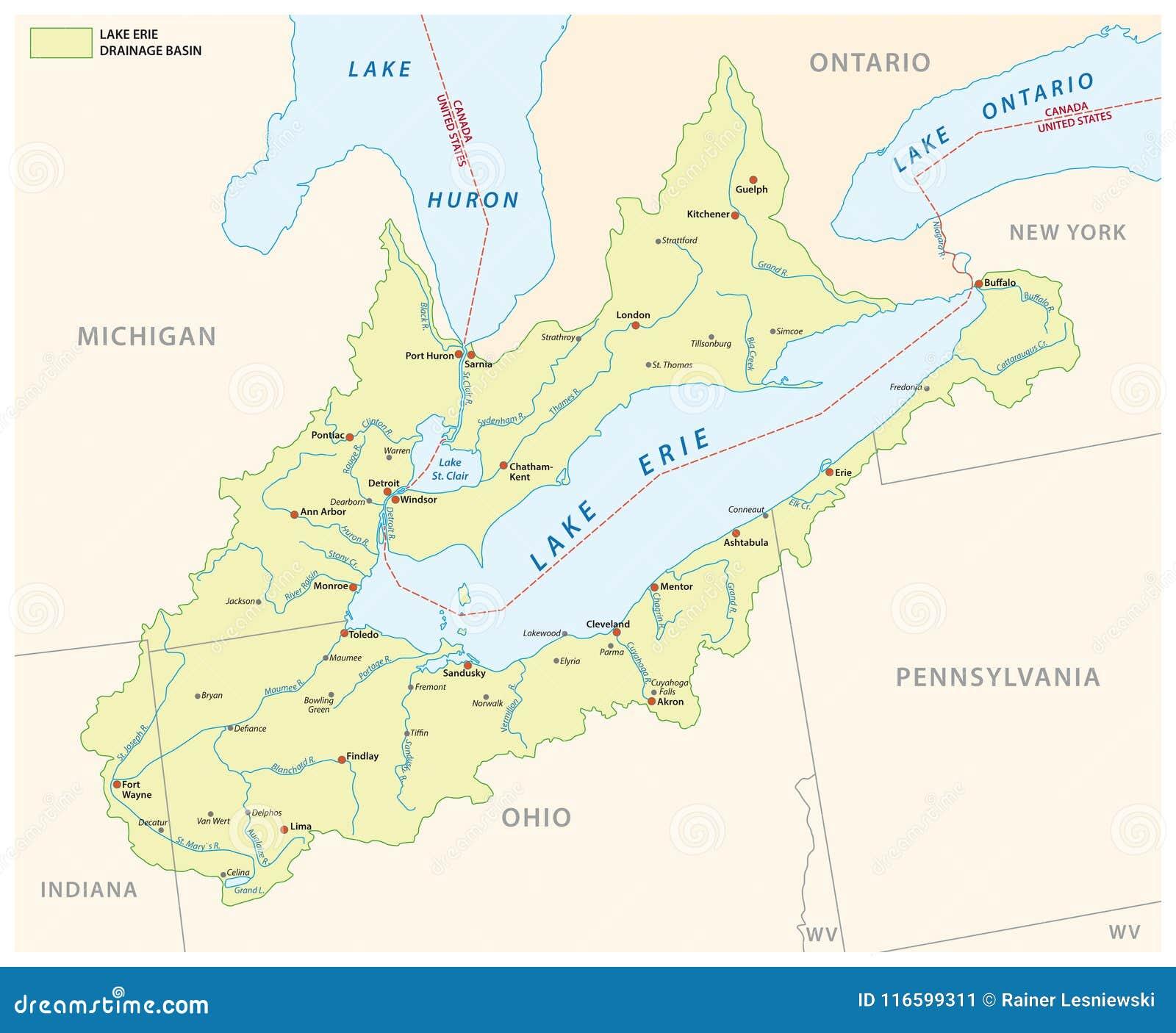 Διανυσματικός χάρτης λεκανών αποξηράνσεων του Erie λιμνών
