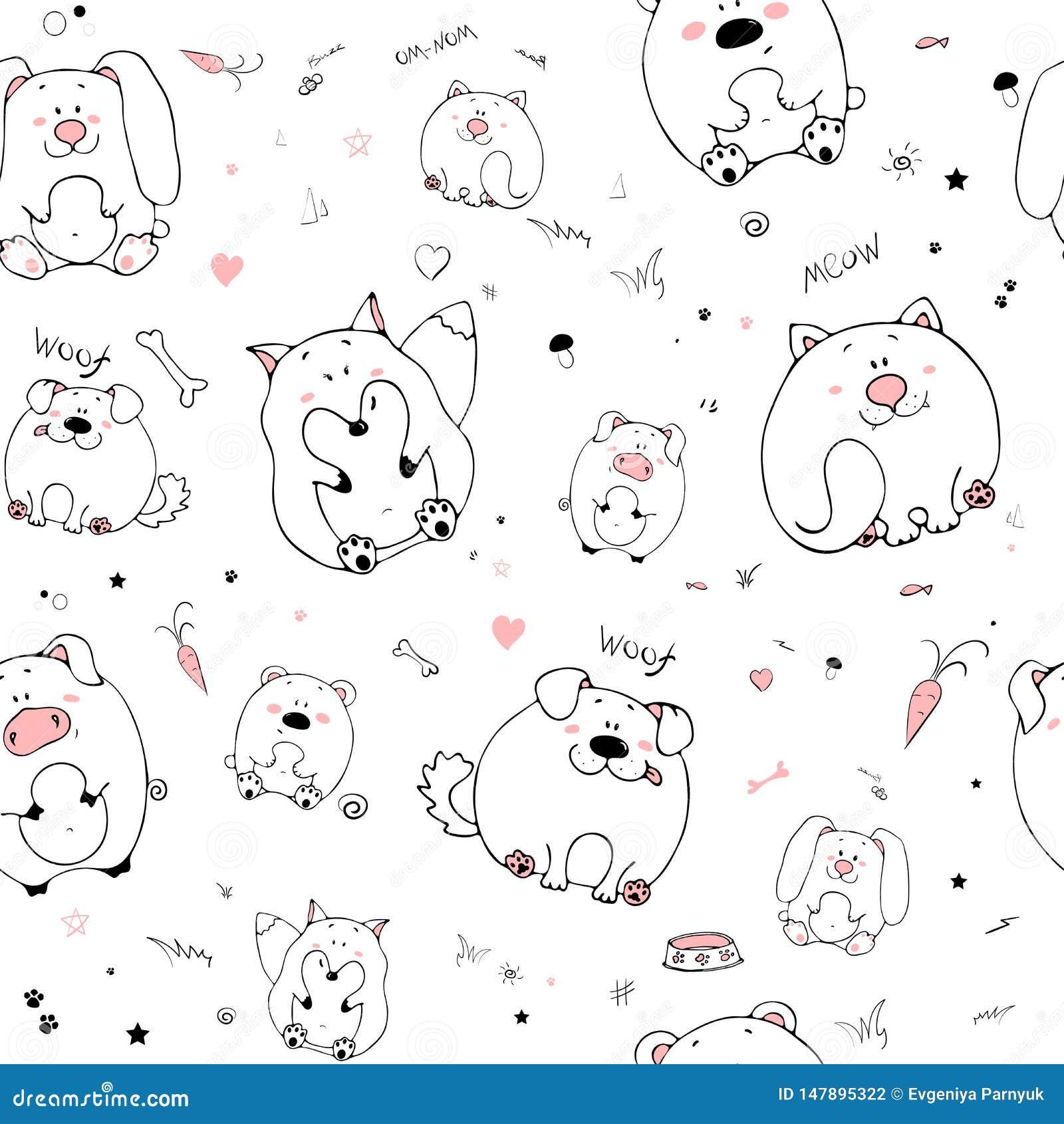 Διανυσματικό άνευ ραφής σχέδιο με τα hand-drawn αστεία χαριτωμένα παχιά ζώα Σκιαγραφίες των ζώων σε ένα άσπρο υπόβαθρο Σύσταση δι