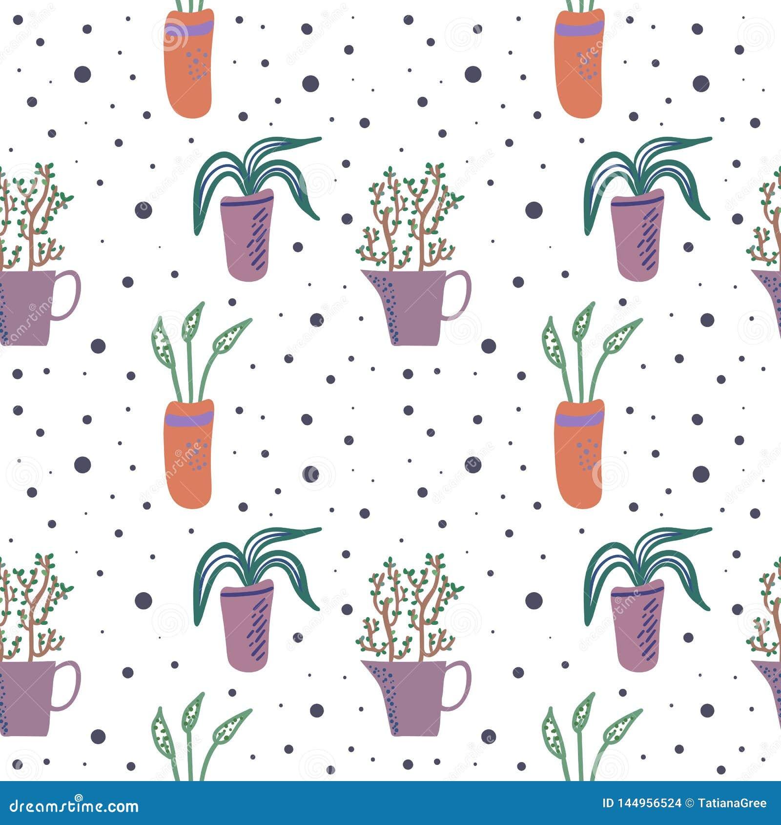 Διανυσματικό άνευ ραφής σχέδιο με τα houseplants στα δοχεία λουλουδιών