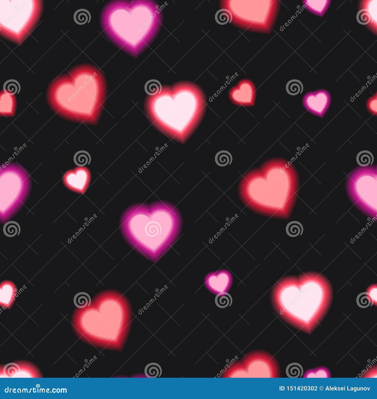 Διανυσματικό άνευ ραφής σχέδιο με τη λάμποντας καρδιά, κόκκινο χρώμα, ζωηρόχρωμο υπόβαθρο