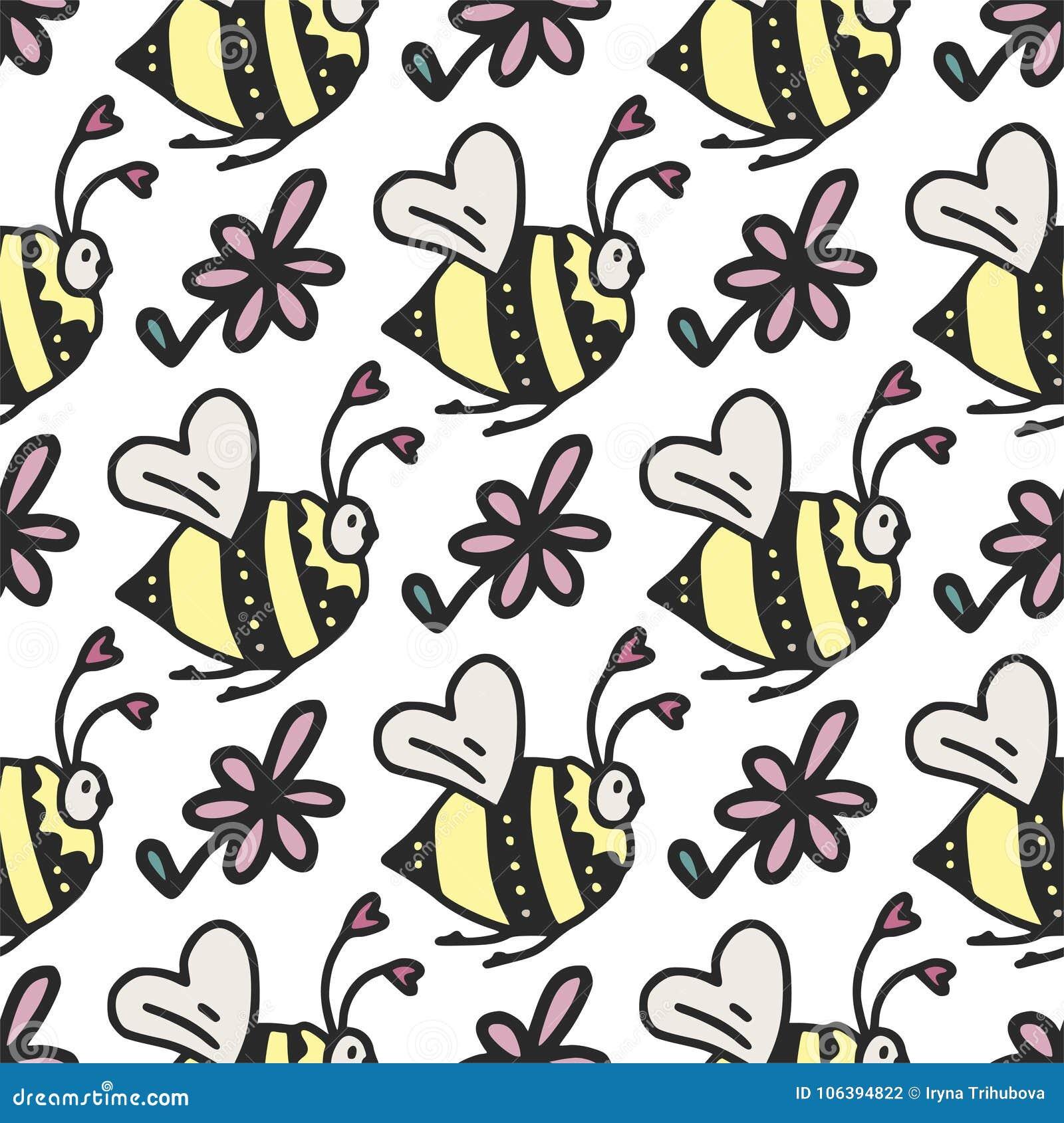 Διανυσματικό άνευ ραφής σχέδιο με τις χαριτωμένα μικρά μέλισσες, τις καρδιές και τα λουλούδια