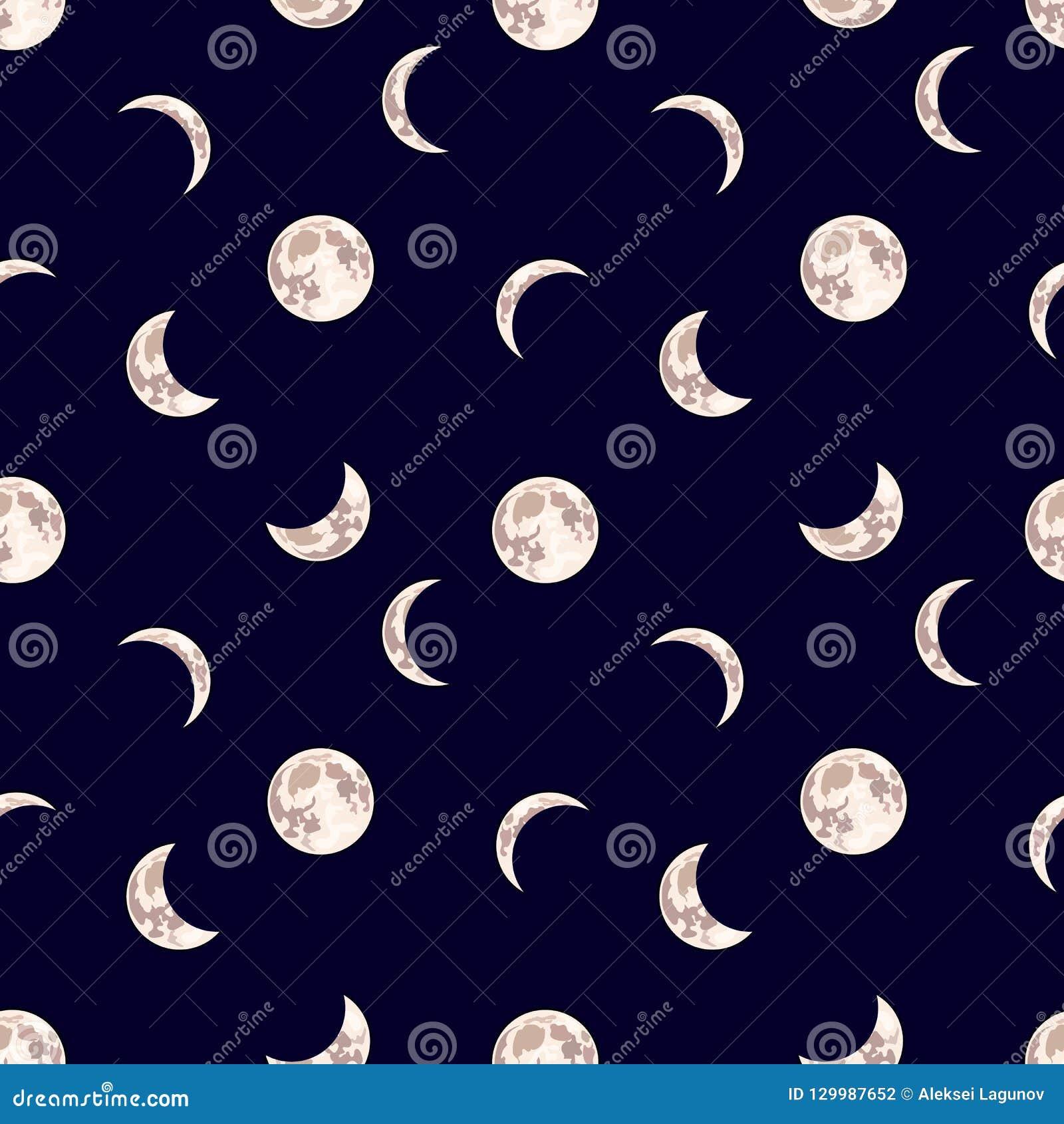Διανυσματικό άνευ ραφής σχέδιο: Φεγγάρι, σκοτεινό υπόβαθρο νυχτερινού ουρανού με τη διαφορετική φάση φεγγαριού