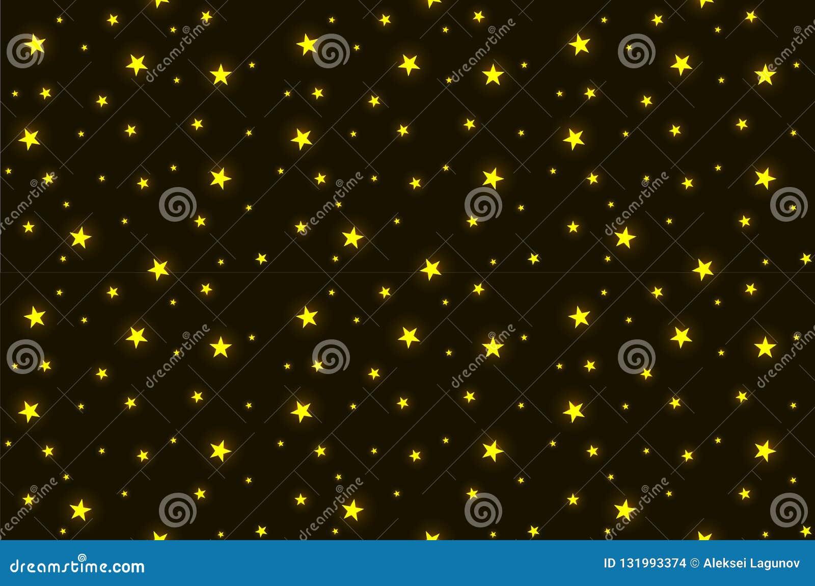 Διανυσματικό άνευ ραφής σχέδιο: Χρυσά λάμποντας αστέρια στο σκοτεινό νυχτερινό ουρανό