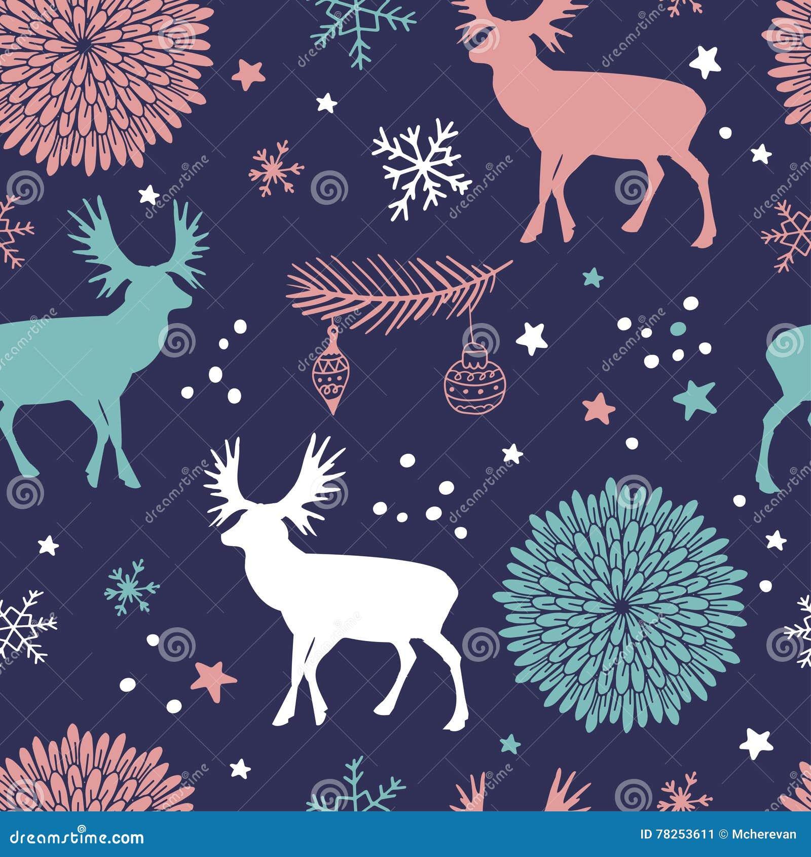 Διανυσματικό άνευ ραφής σχέδιο με τα δέντρα, τα deers και τα λουλούδια