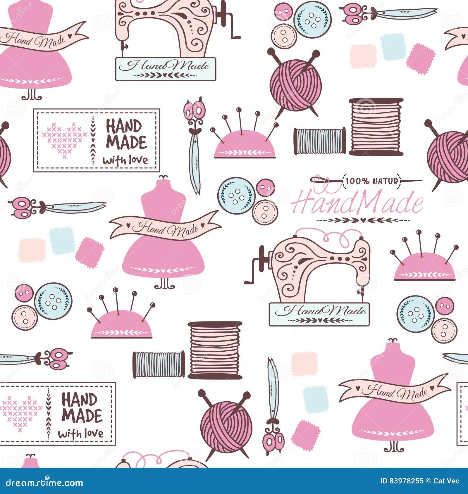 618cbbe208cb Άνευ ραφής σχέδιο εικονιδίων ραψίματος και ραπτικής doodle Γραμμικό σκίτσο  σχεδίων χεριών Εκλεκτής ποιότητας διανυσματικό χέρι - γίνοντες προμήθειες