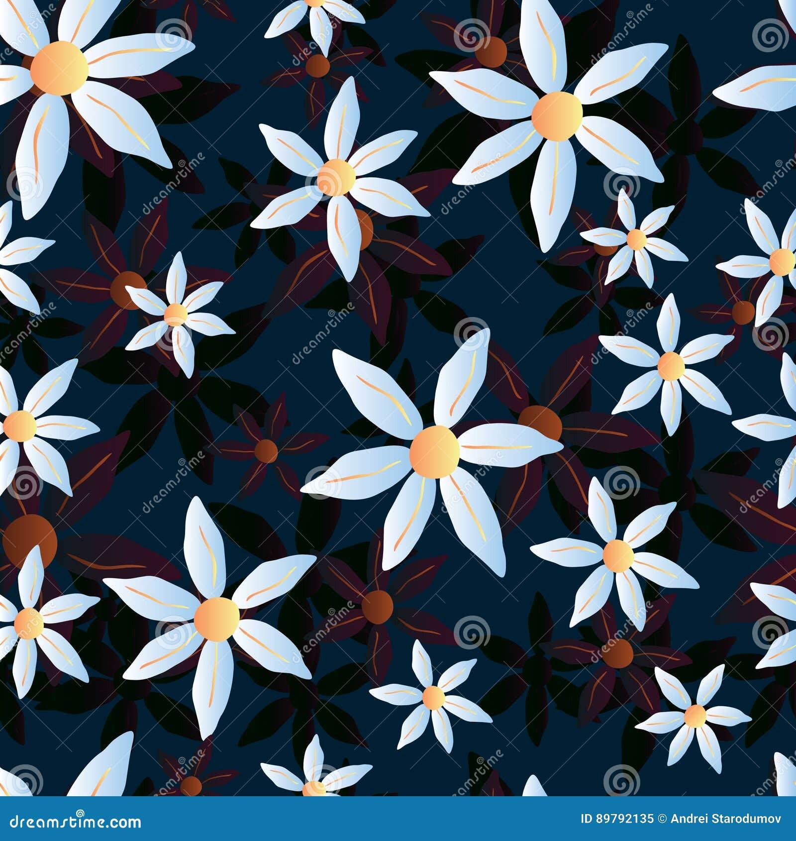 Διανυσματικό άνευ ραφής chamomile μπλε σχέδιο