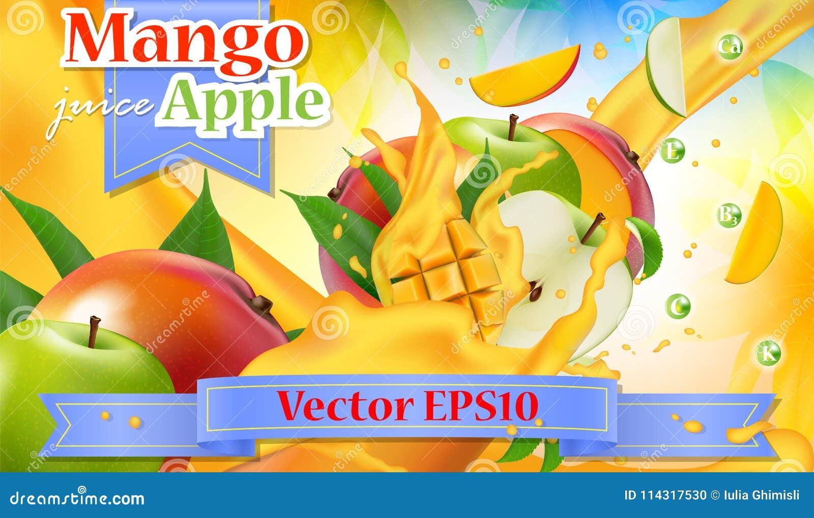 Διανυσματικό έμβλημα προώθησης αγγελιών τρισδιάστατο Ρεαλιστικό ράντισμα μάγκο μήλων
