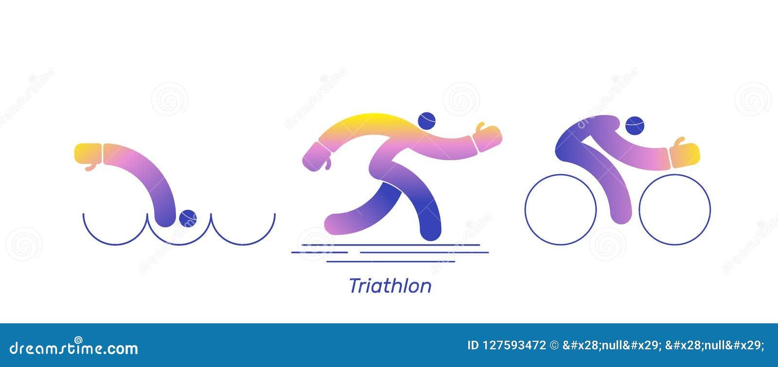 Διανυσματικό αθλητικό ποδήλατο δραστηριότητας Triathlon Το τρέξιμο λογότυπων κολυμπά το δρομέα Εικονίδια - κολύμβηση, τρέξιμο, πο