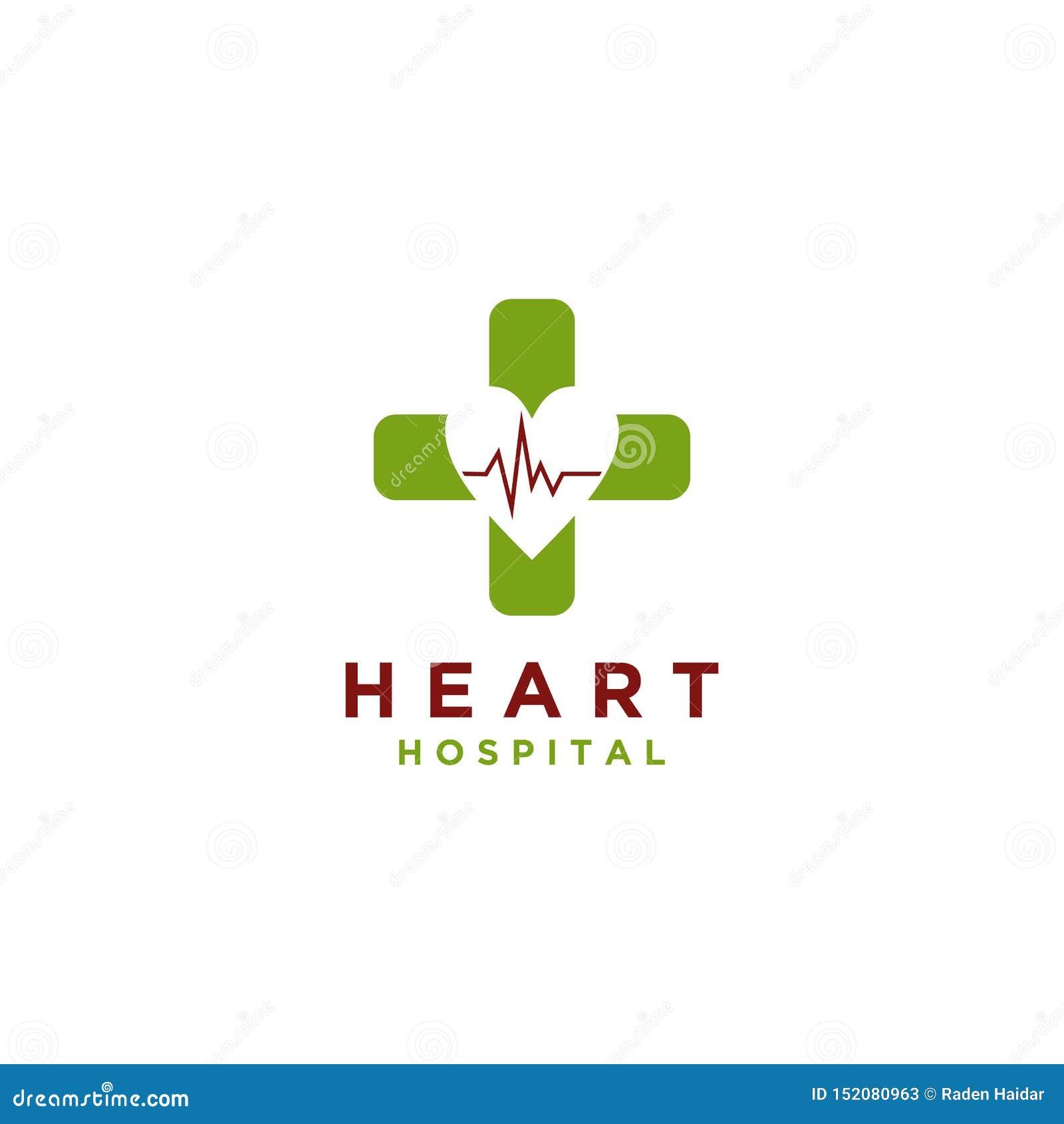Διανυσματικό απλό ύφος σχεδίου λογότυπων νοσοκομείων καρδιών