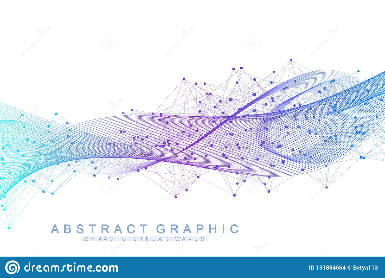 Διανυσματικό αφηρημένο υπόβαθρο με χρωματισμένα δυναμικά κύματα, γραμμή και μόρια Ροή κυμάτων Ψηφιακή διαδρομή συχνότητας