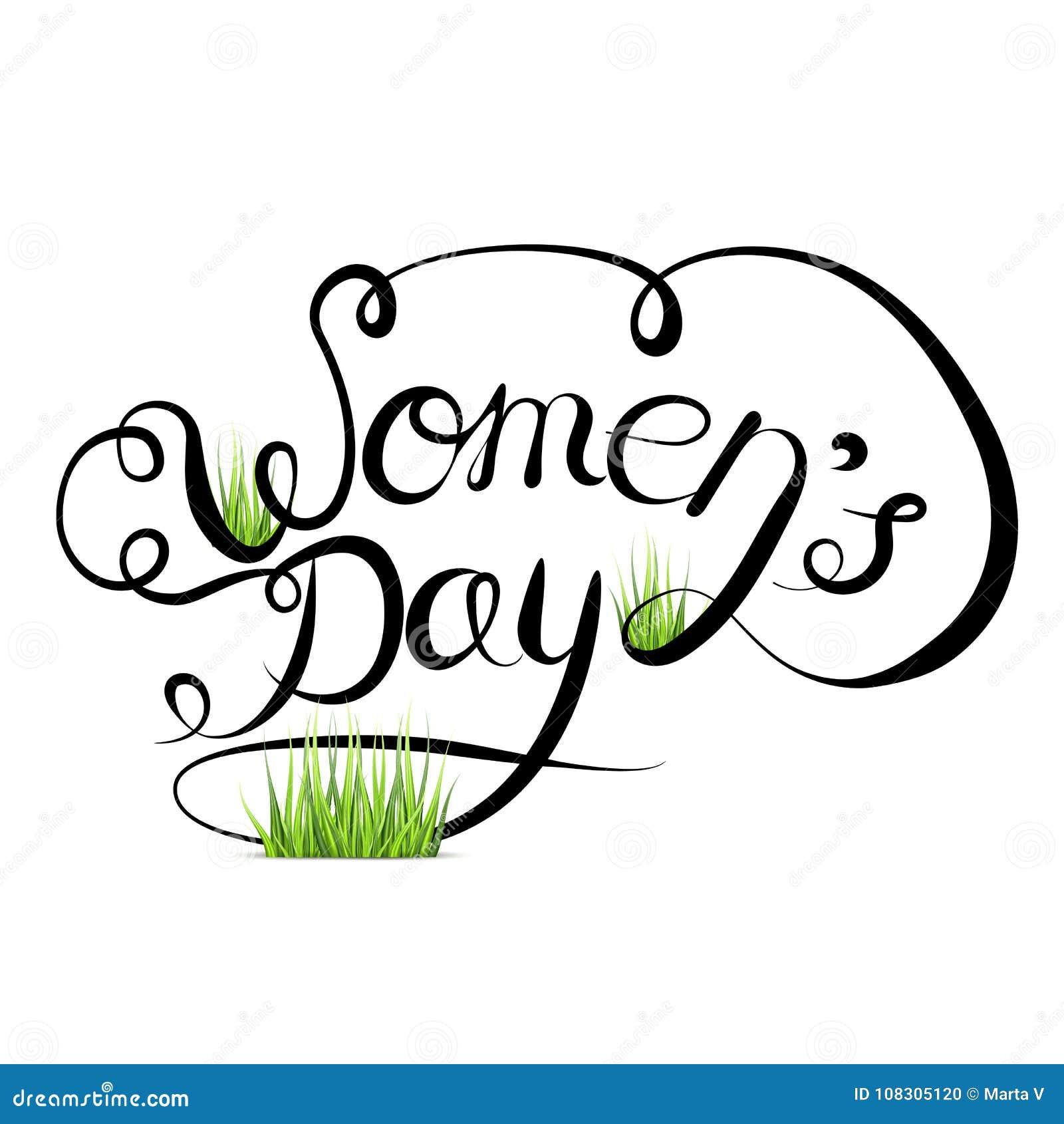 Διανυσματικό γράφοντας χέρι που επισύρεται την προσοχή σε ένα άσπρο υπόβαθρο Διεθνής ημέρα γυναικών s στις 8 Μαρτίου