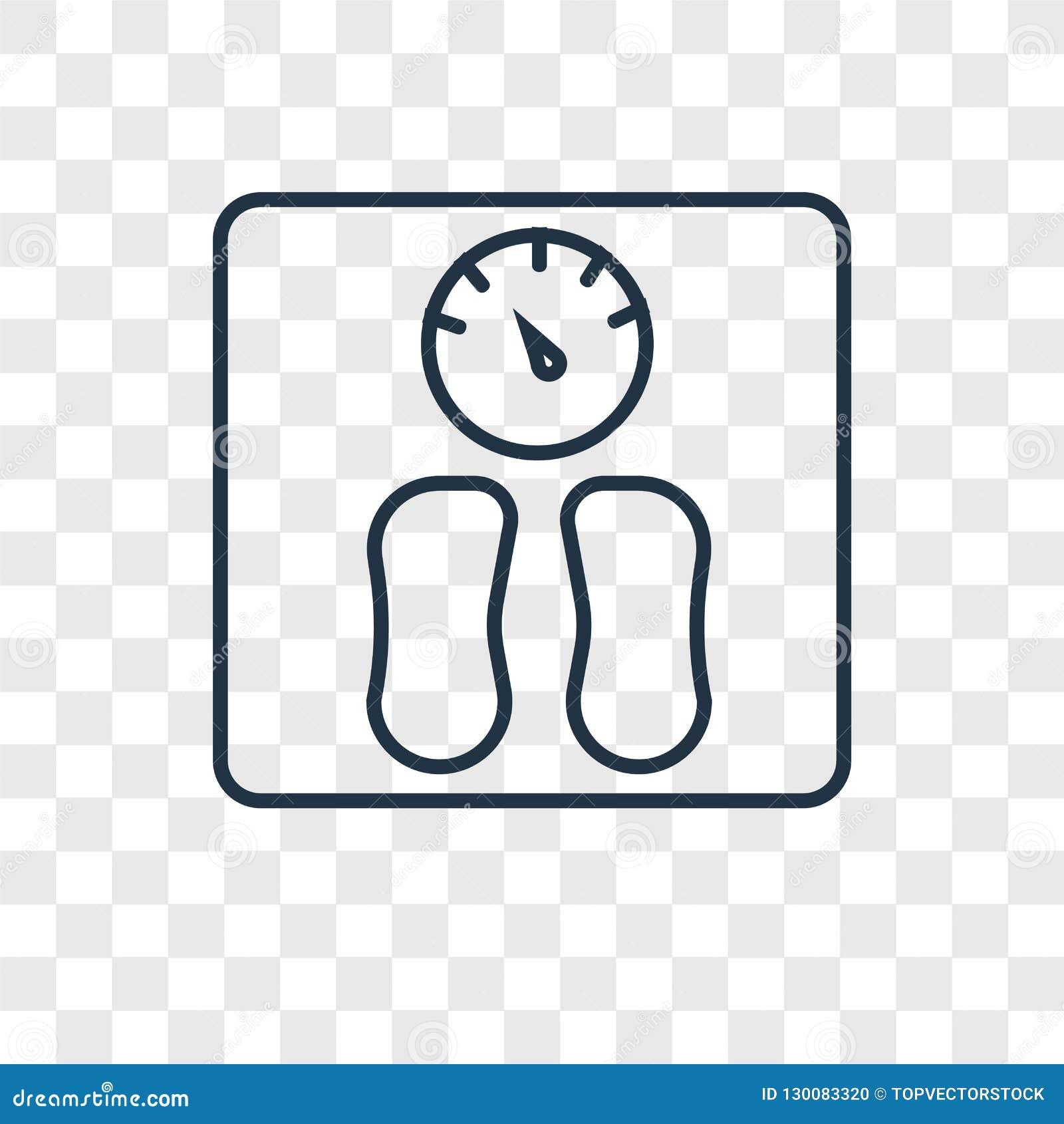 Διανυσματικό γραμμικό εικονίδιο έννοιας βάρους που απομονώνεται στο διαφανές backgr