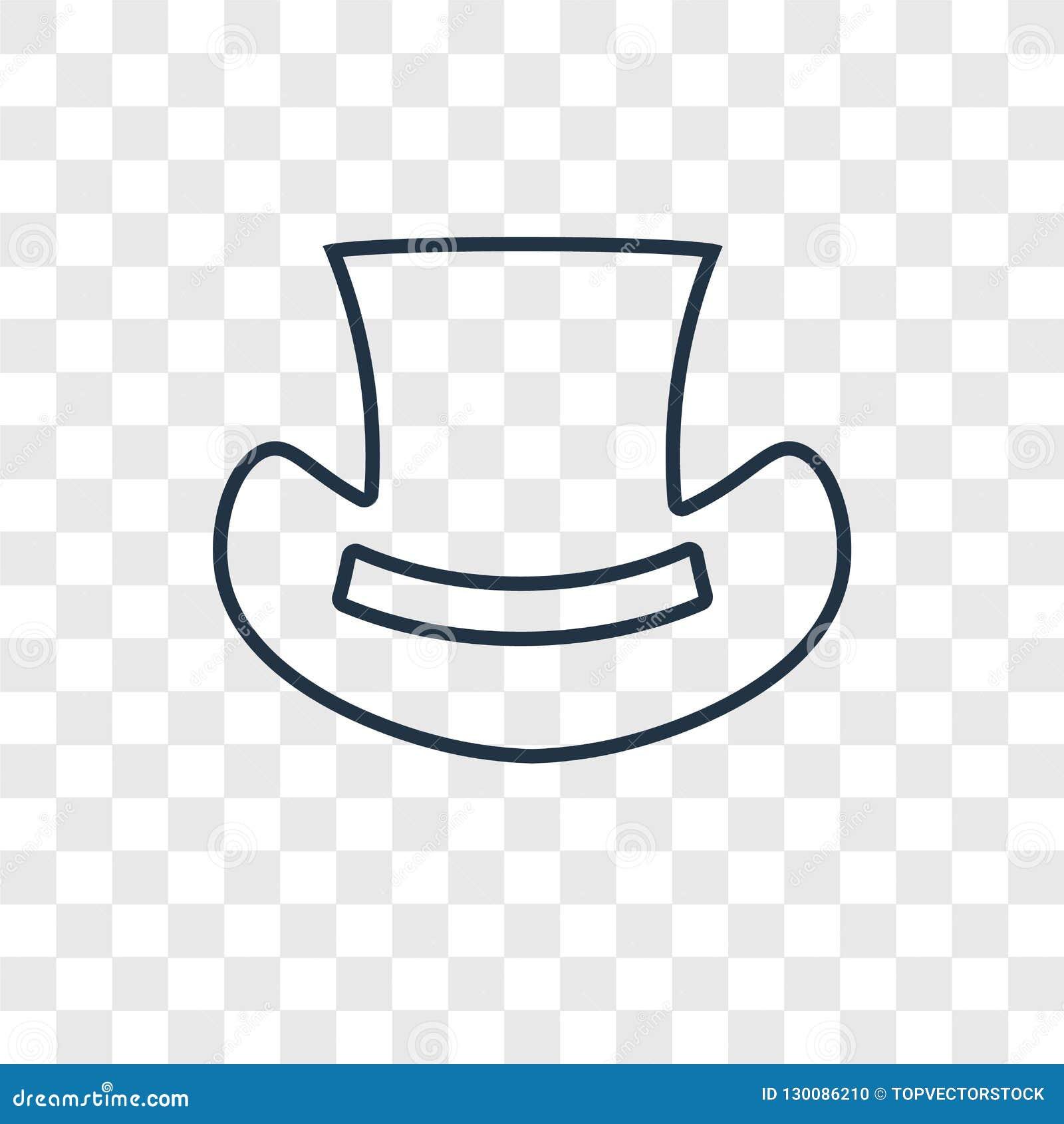 Διανυσματικό γραμμικό εικονίδιο τοπ έννοιας καπέλων που απομονώνεται στο διαφανές backg
