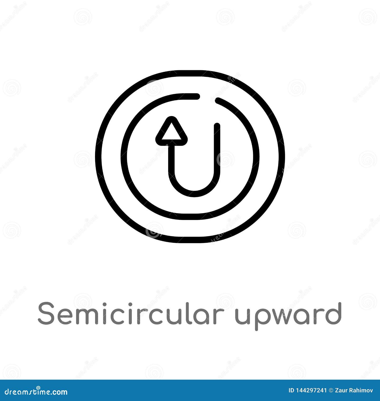 διανυσματικό εικονίδιο βελών περιλήψεων ημικυκλικό ανοδικό απομονωμένη μαύρη απλή απεικόνιση στοιχείων γραμμών από την έννοια ενδ