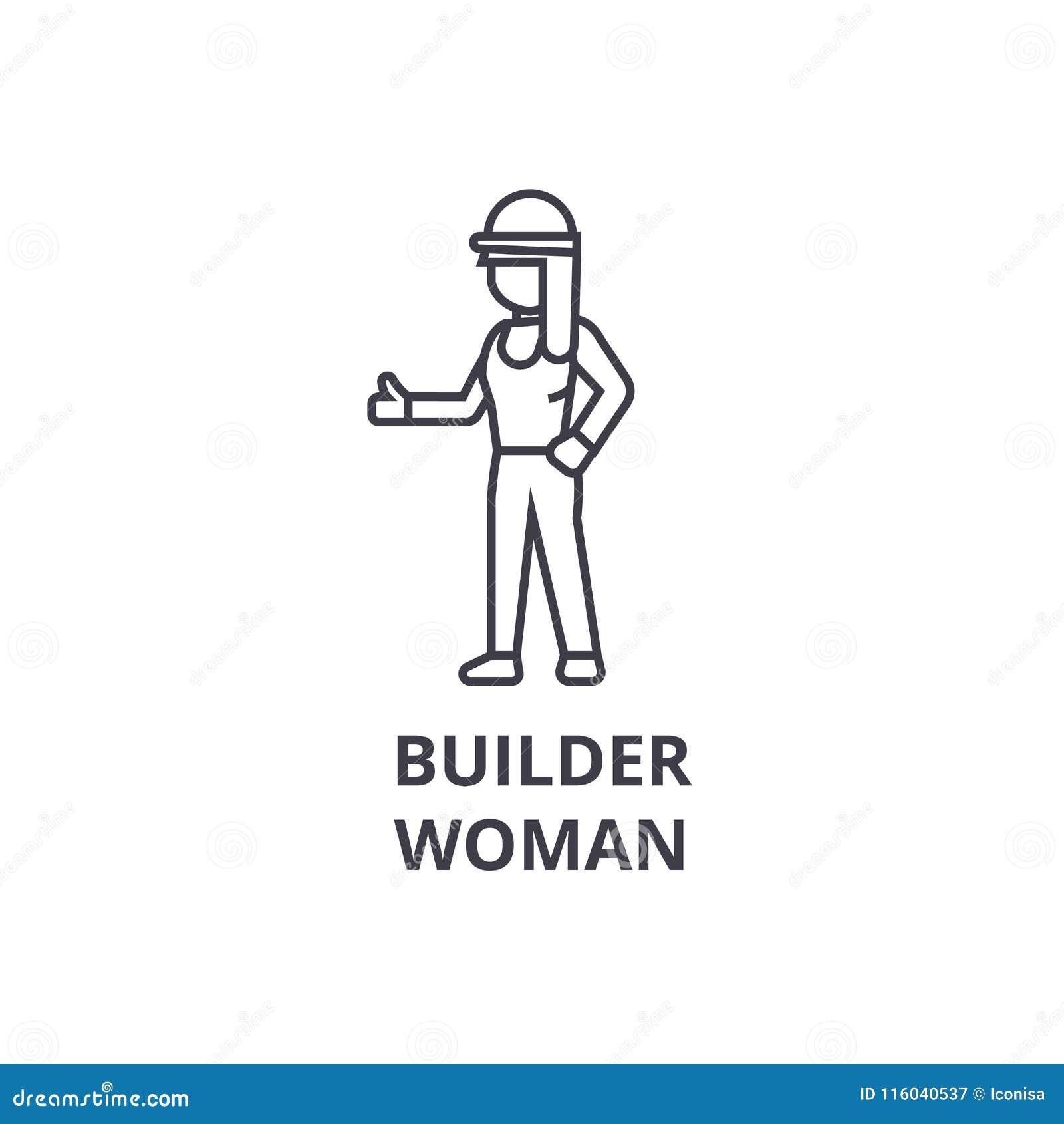 Διανυσματικό εικονίδιο γραμμών γυναικών οικοδόμων, σημάδι, απεικόνιση στο υπόβαθρο, editable κτυπήματα