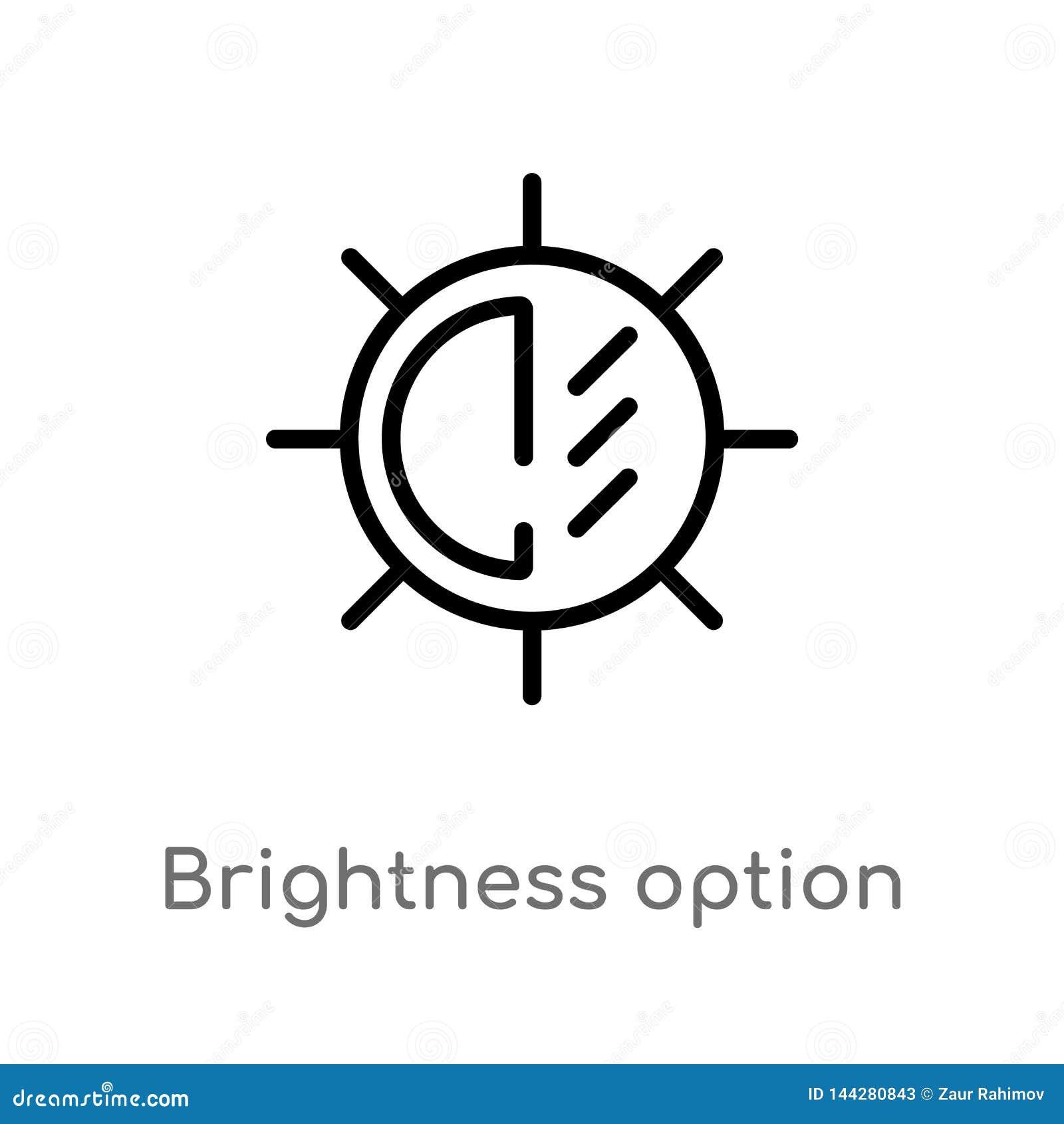 διανυσματικό εικονίδιο επιλογής φωτεινότητας περιλήψεων η απομονωμένη μαύρη απλή απεικόνιση στοιχείων γραμμών από την ηλεκτρονική