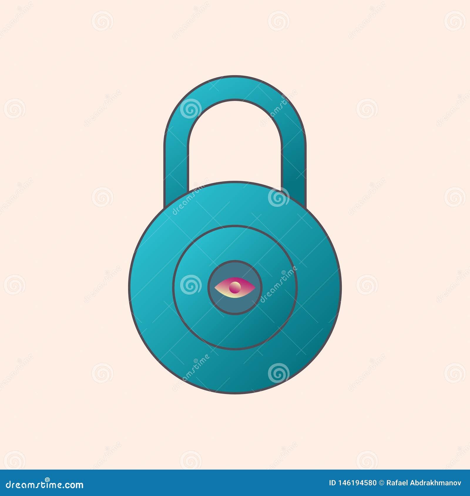 Διανυσματικό εικονίδιο κλειδαριών παραλλαγής Ανιχνευτής τυπωμένων υλών ματιών Υπολογιστής συμβόλων ιδιωτικός και ασφάλεια Διαδικτ