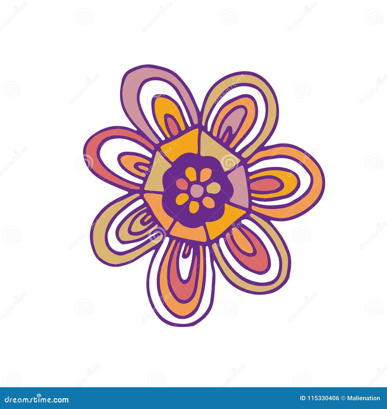 Διανυσματικό εικονίδιο λουλουδιών Σχέδιο τυπωμένων υλών μπλουζών Χαριτωμένη αυτοκόλλητη ετικέττα doodle