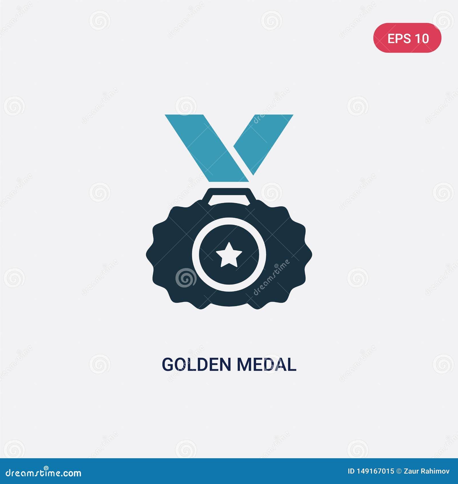 Διανυσματικό εικονίδιο μεταλλίων δύο χρώματος χρυσό από την αθλητική έννοια το απομονωμένο μπλε χρυσό σύμβολο σημαδιών μεταλλίων
