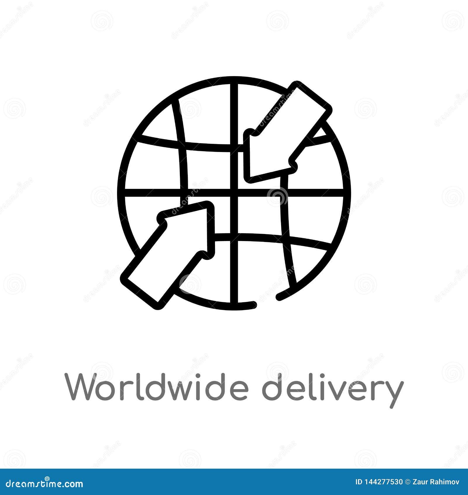 διανυσματικό εικονίδιο παράδοσης περιλήψεων παγκόσμιο απομονωμένη μαύρη απλή απεικόνιση στοιχείων γραμμών από την έννοια παράδοση