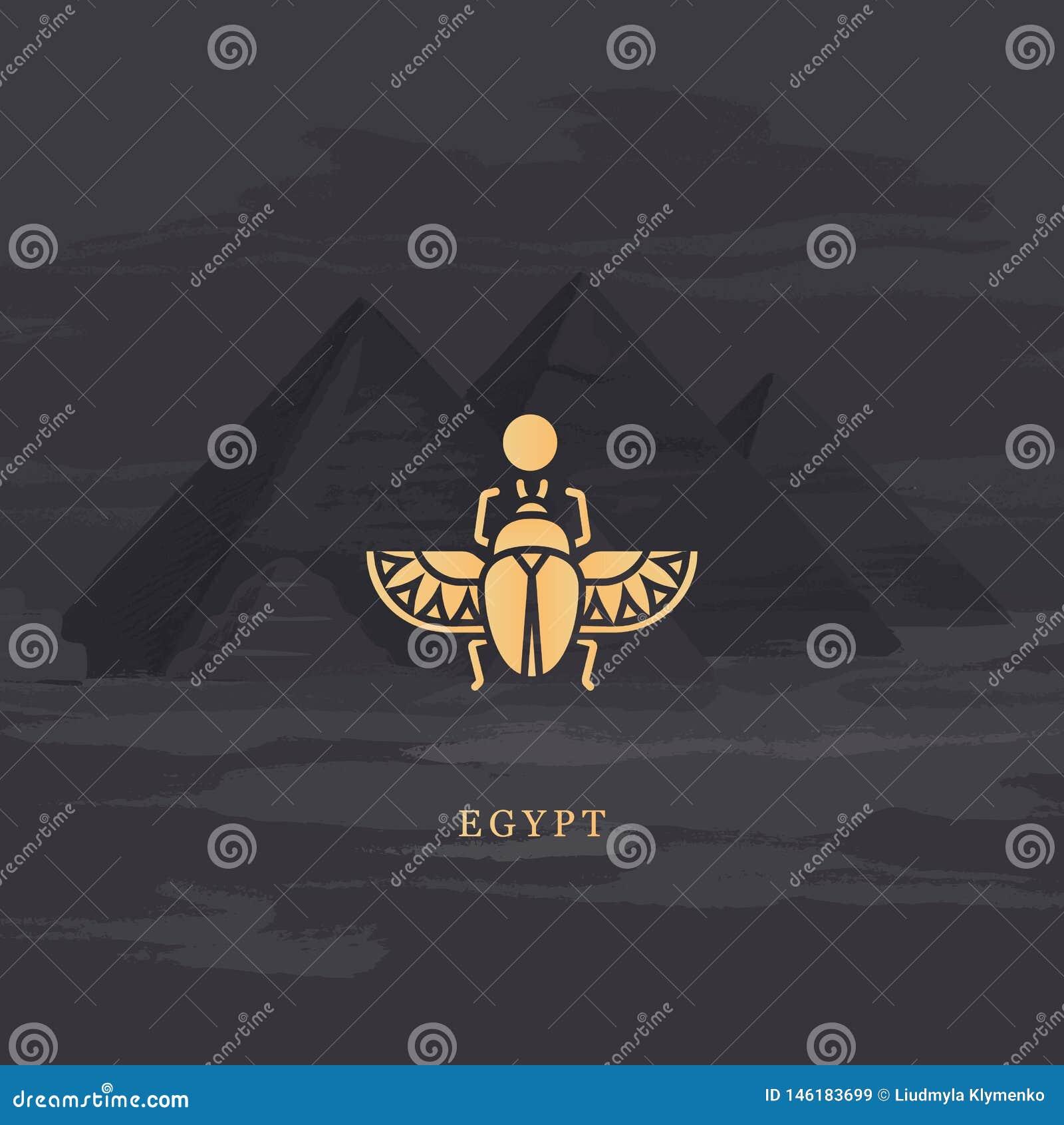 Διανυσματικό εικονίδιο σχεδίων του αιγυπτιακού κανθάρου scarab, που προσωποποιεί το Θεό Khepri