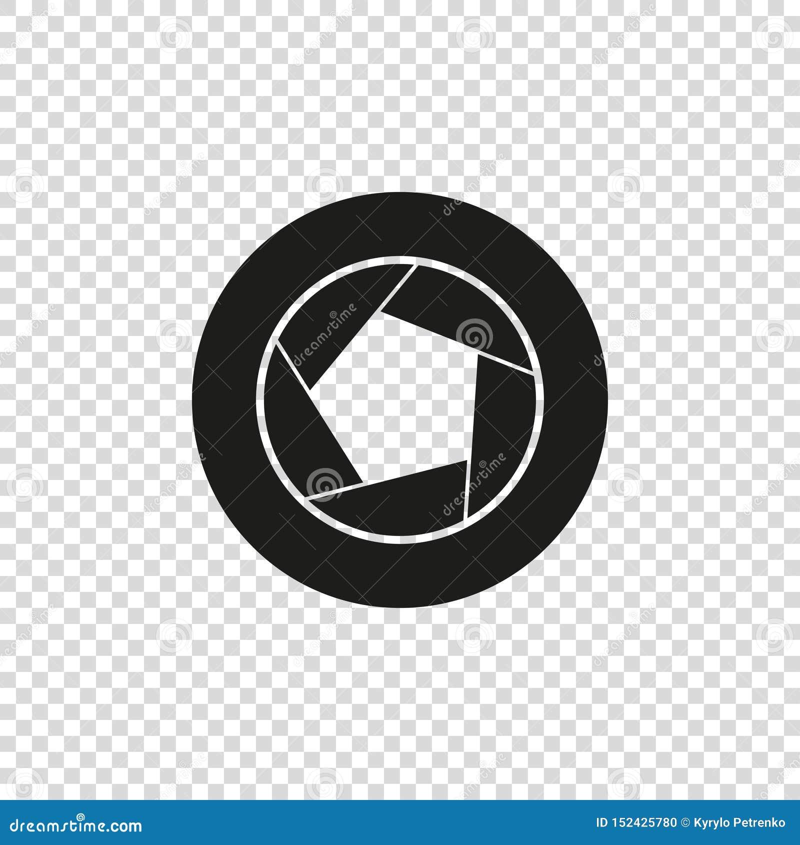διανυσματικό εικονίδιο του μαύρου χρώματος διαφραγμάτων καμερών