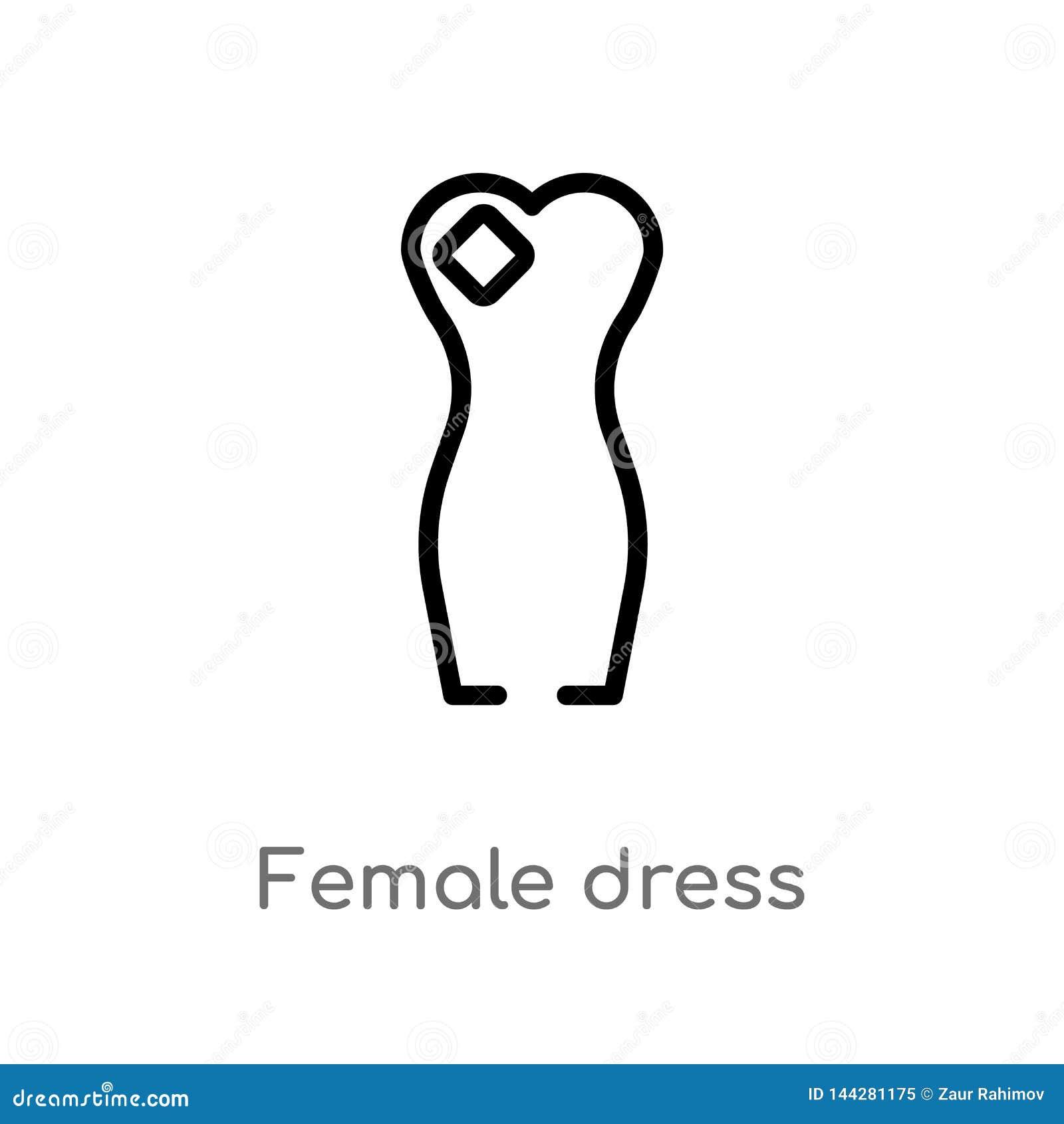 διανυσματικό εικονίδιο φορεμάτων περιλήψεων θηλυκό απομονωμένη μαύρη απλή απεικόνιση στοιχείων γραμμών από την έννοια μόδας Διανυ