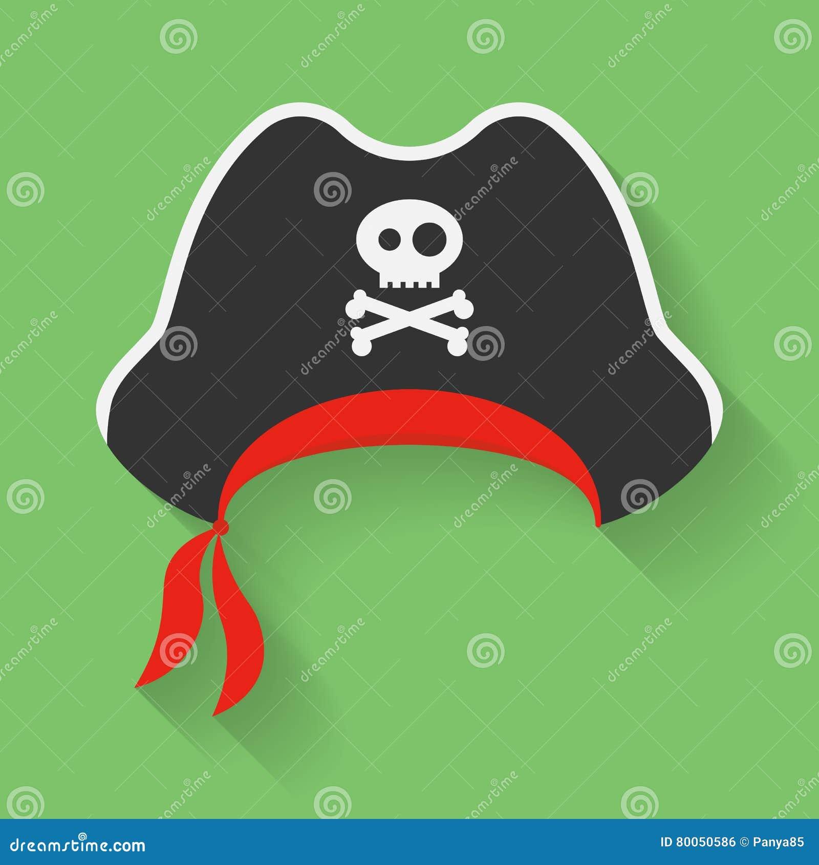 Διανυσματικό εικονίδιο του καπέλου πειρατών με ένα ευχάριστα σύμβολο του Ρότζερ Κωλυσιεργία, πειρατής headdress με το σημάδι, έμβ