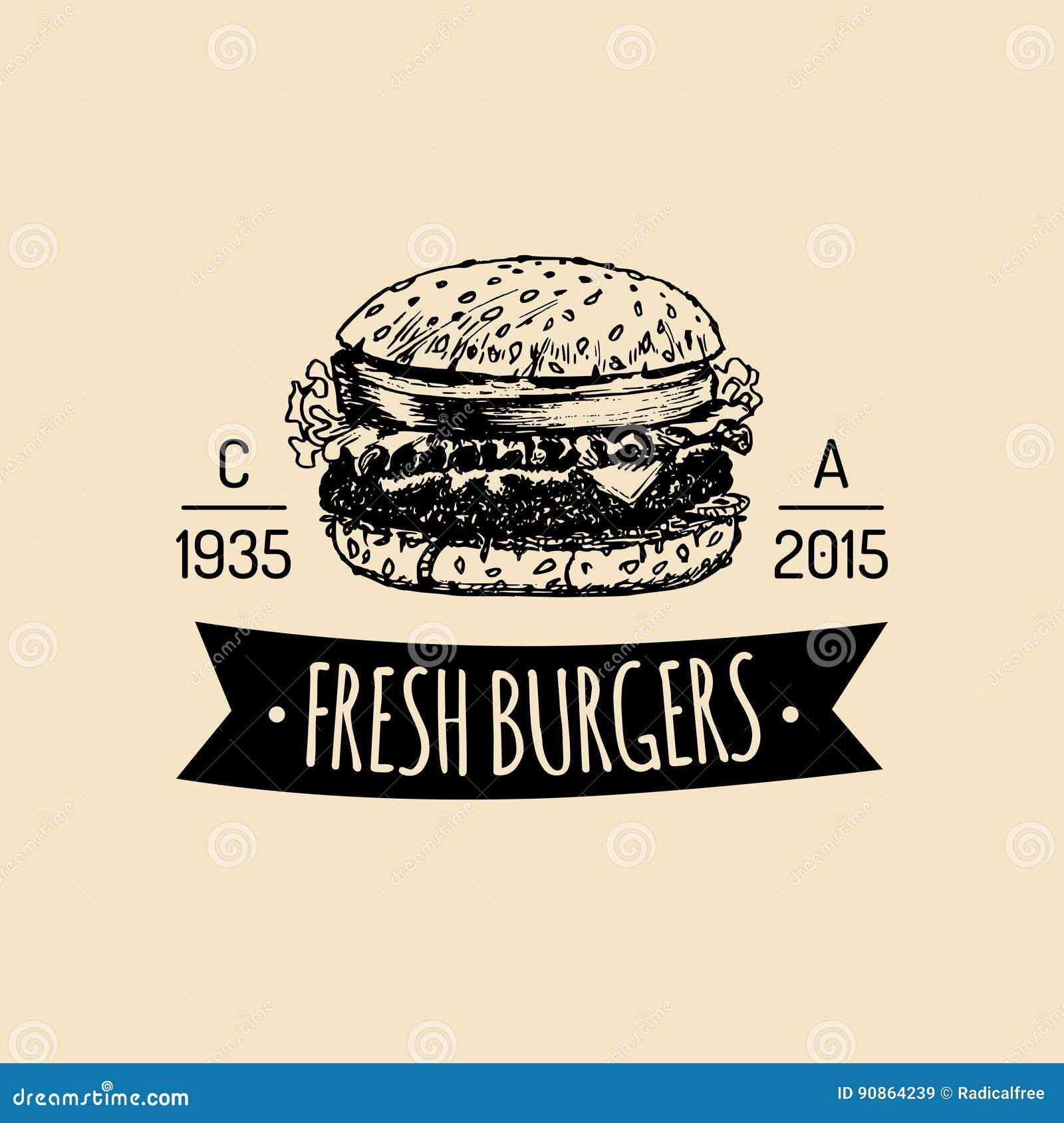 Διανυσματικό εκλεκτής ποιότητας λογότυπο γρήγορου φαγητού Αναδρομική συρμένη χέρι burger ετικέτα Σημάδι σάντουιτς Hipster Εικονίδ