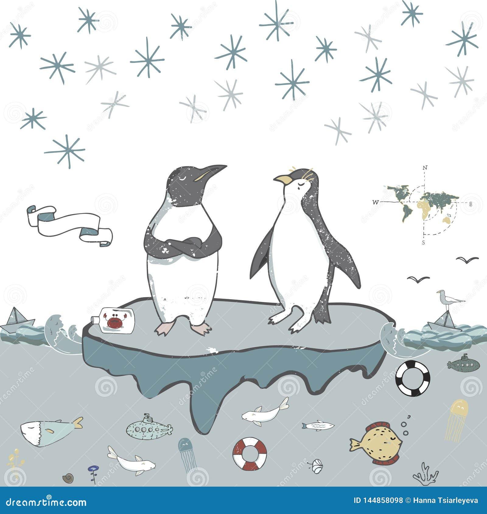 Διανυσματικό εορτασμού επιπλέοντος πάγου πάγου Penguins χαιρετισμού γενε