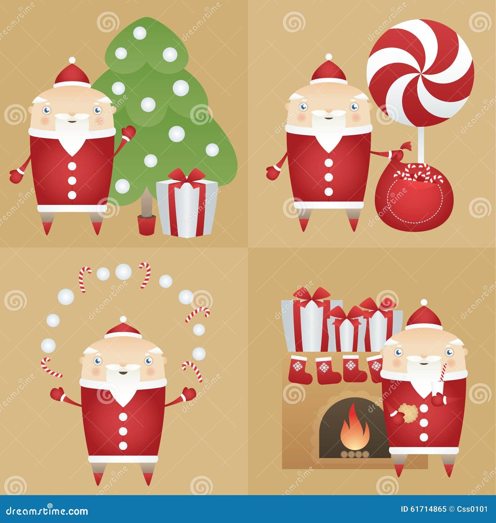 Διανυσματικό επίπεδο εικονίδιο Άγιος Βασίλης συνόλου με το κιβώτιο δώρων, δέντρο πεύκων, σάκος, καραμέλες, μπισκότο, γάλα, εστία