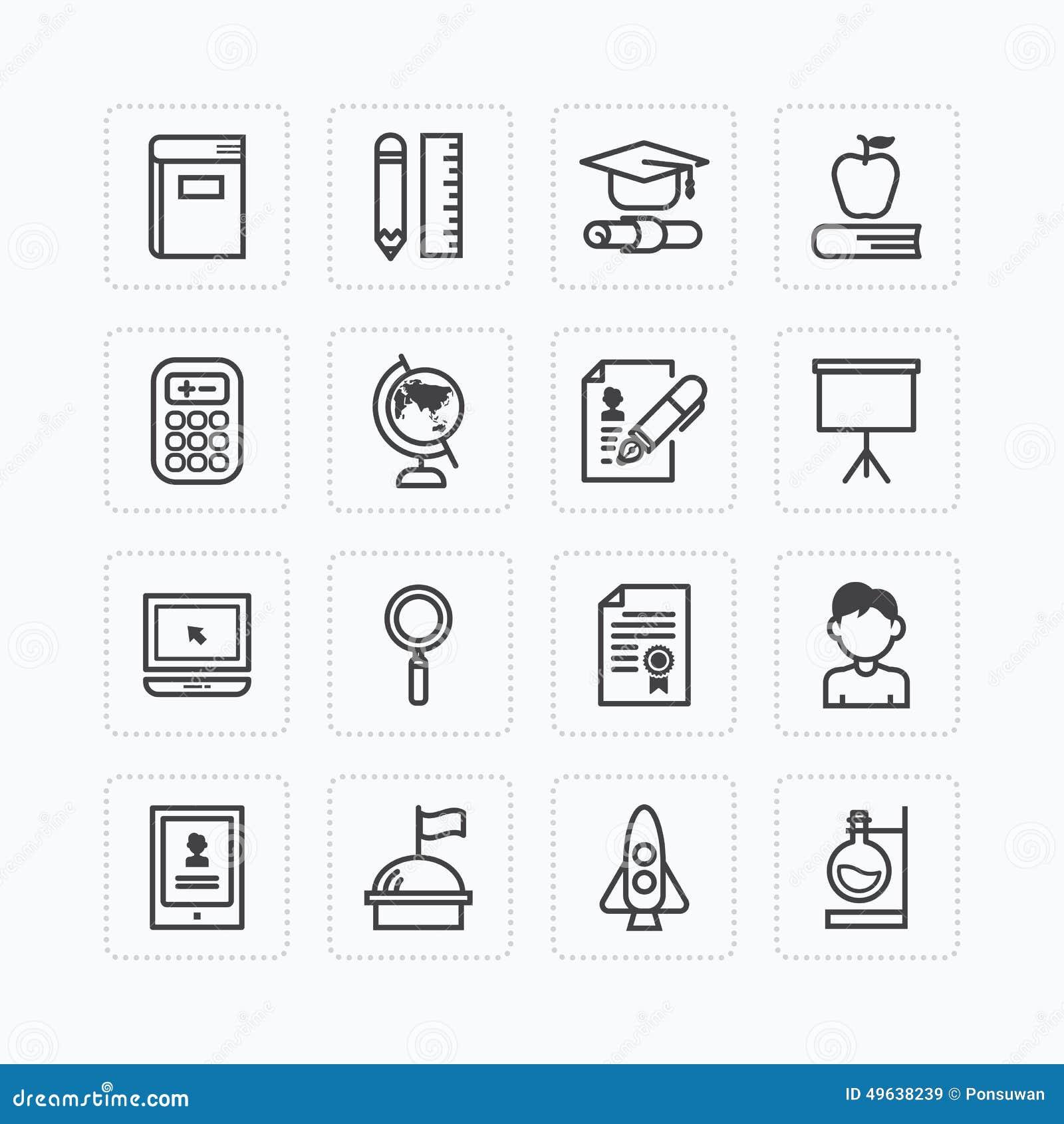 Διανυσματικό επίπεδο σύνολο εικονιδίων έννοιας περιλήψεων σχολικών εργαλείων εκπαίδευσης