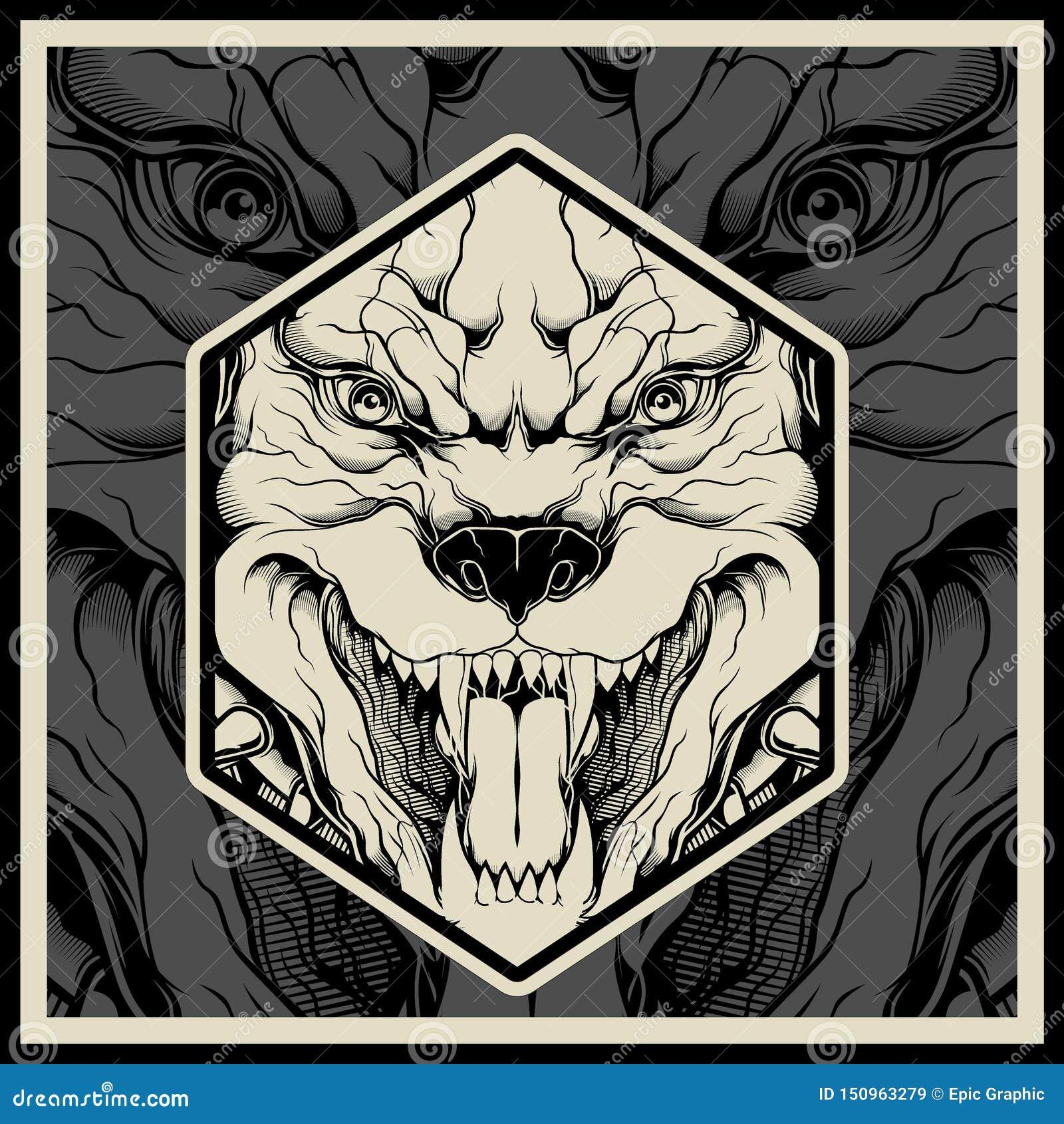 Διανυσματικό κεφάλι μασκότ pitbull απεικόνισης