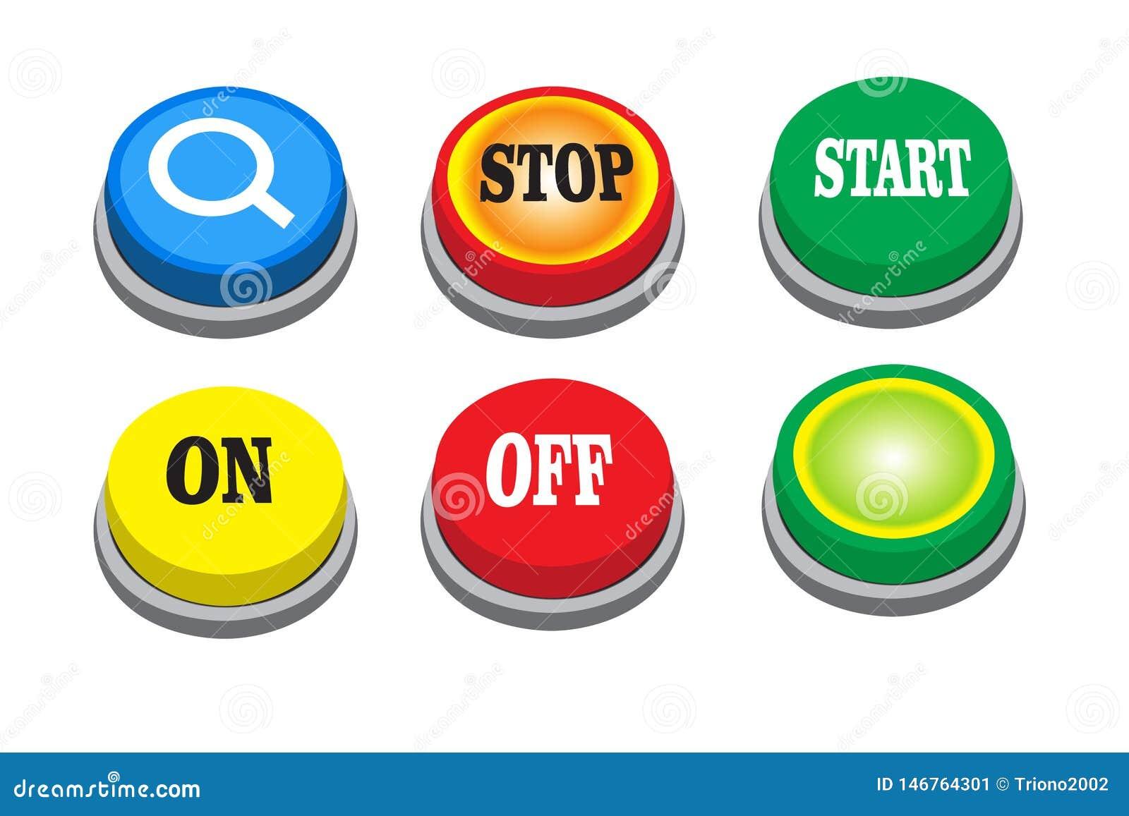 Διανυσματικό κουμπί αναζήτησης, στάση, έναρξη, επάνω, μακριά και πράσινο κουμπί