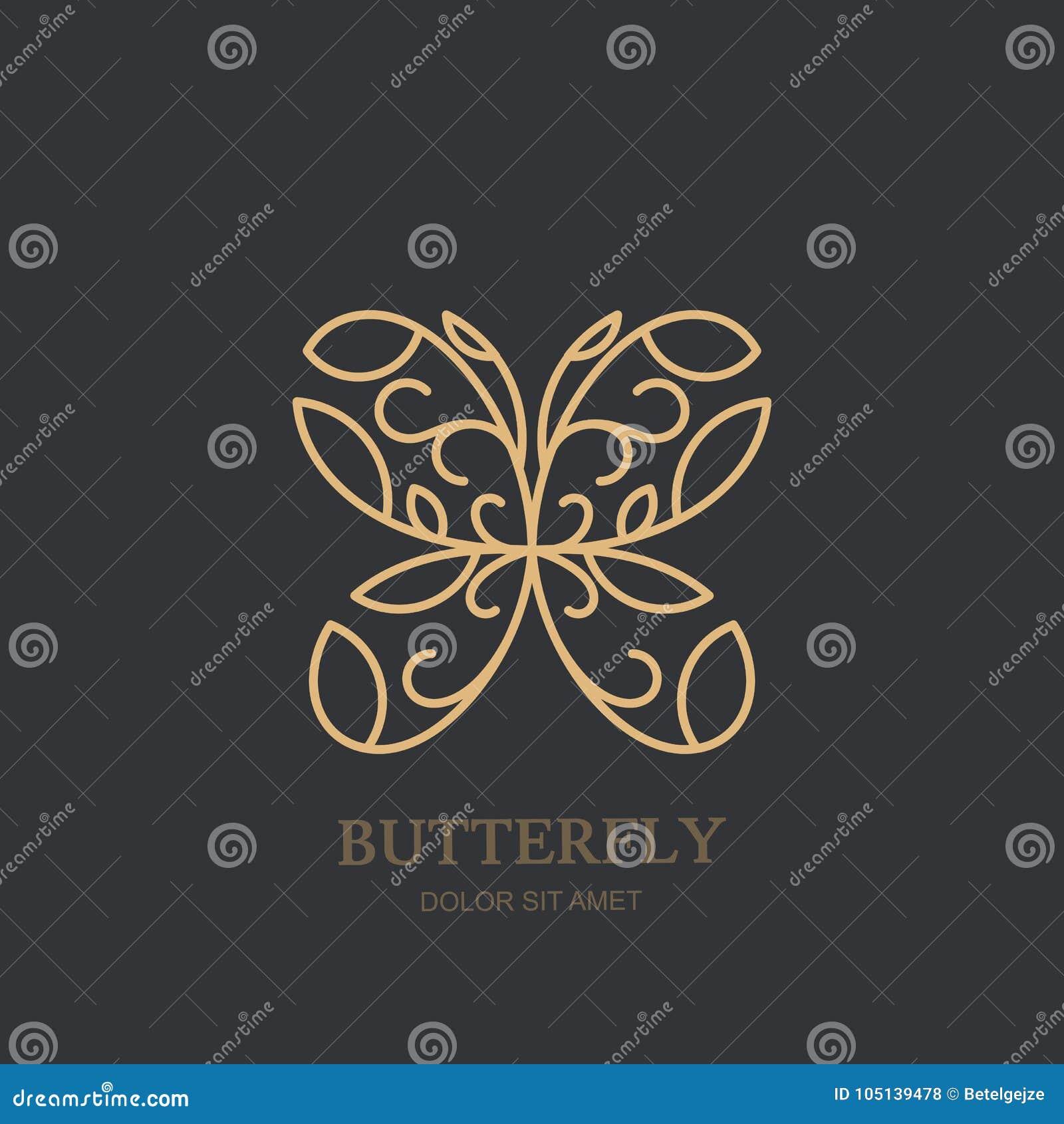 Διανυσματικό λογότυπο ή έμβλημα με τη χρυσή πεταλούδα Η έννοια για το κόσμημα πολυτέλειας, εξαρτήματα αποθηκεύει, beauty spa σαλό