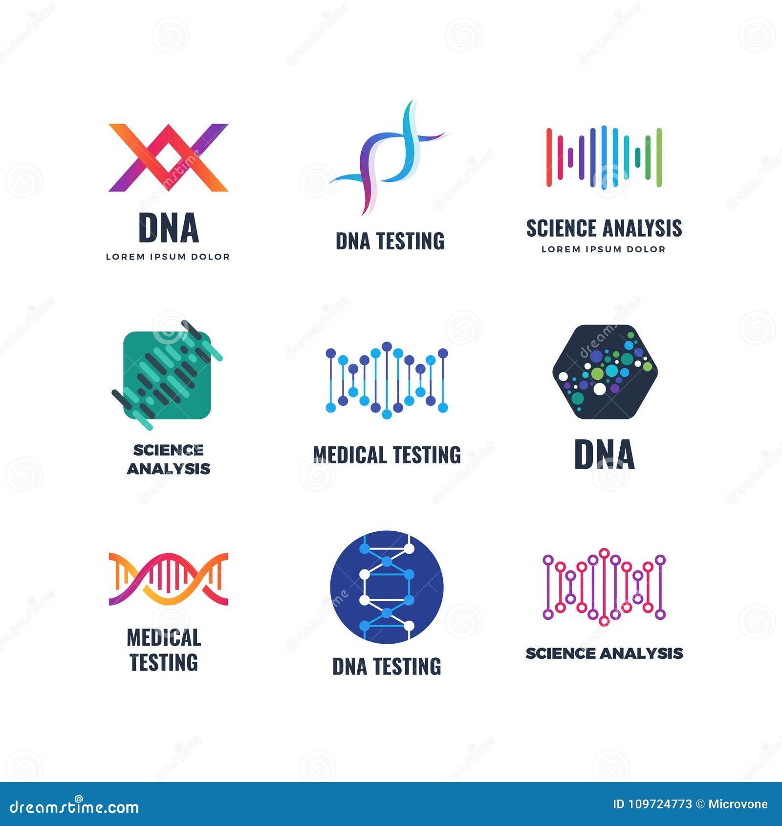Διανυσματικό λογότυπο γενετικής επιστήμης βιοτεχνολογιών κώδικα DNA Εμβλήματα βιοτεχνολογίας μορίων ελίκων