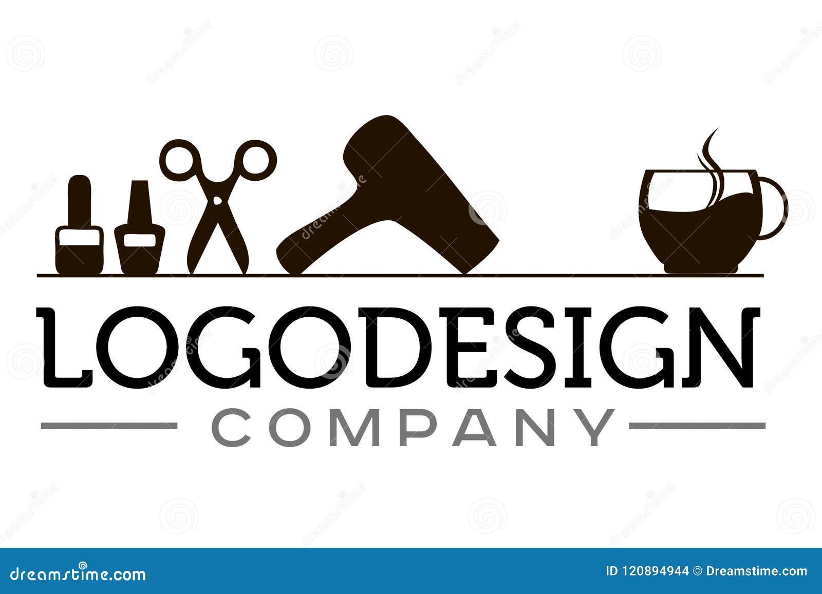 Διανυσματικό λογότυπο για το σαλόνι ομορφιάς με τα στοιχεία