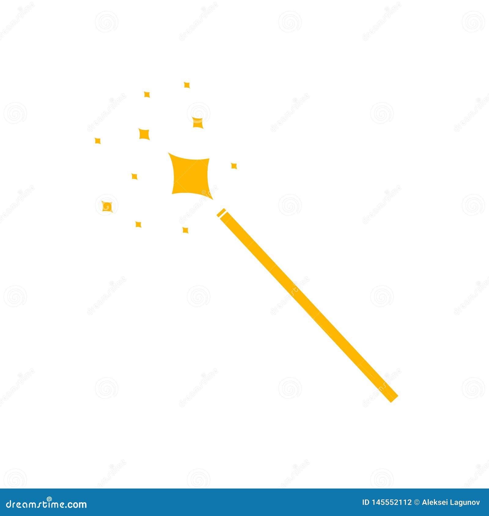 Διανυσματικό μαγικό εικονίδιο ράβδων, κίτρινο εικονόγραμμα που απομονώνεται, μαγικό να λάμψει