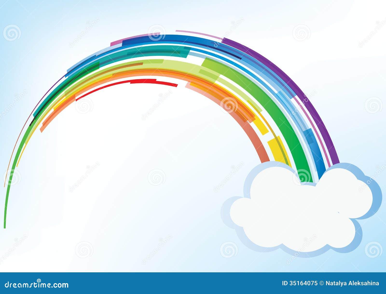 Διανυσματικό ουράνιο τόξο με το σύννεφο
