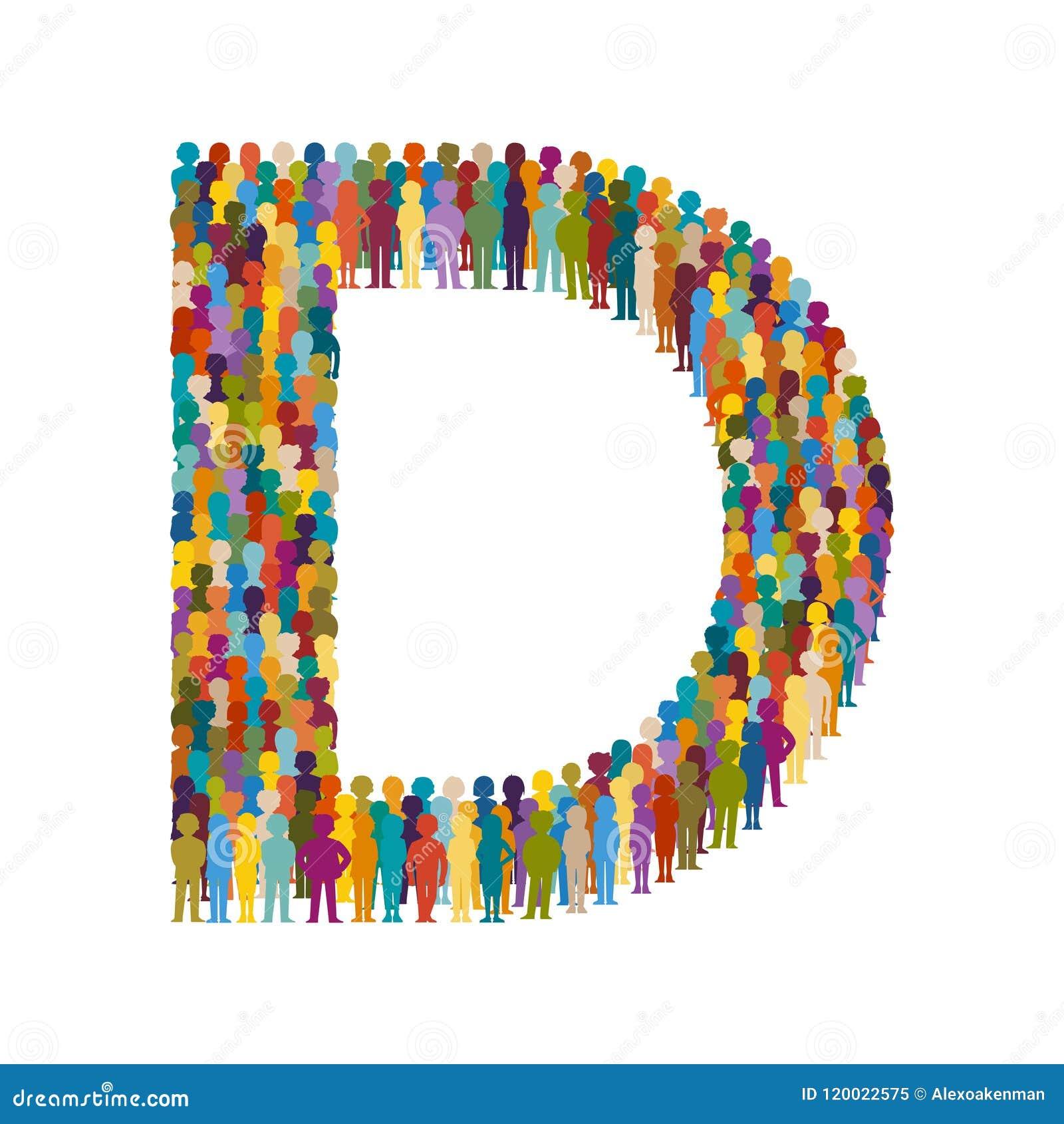 Διανυσματικό πλήθος των ανθρώπων με μορφή επίπεδου ύφους Δ κεφαλαίων γραμμάτων