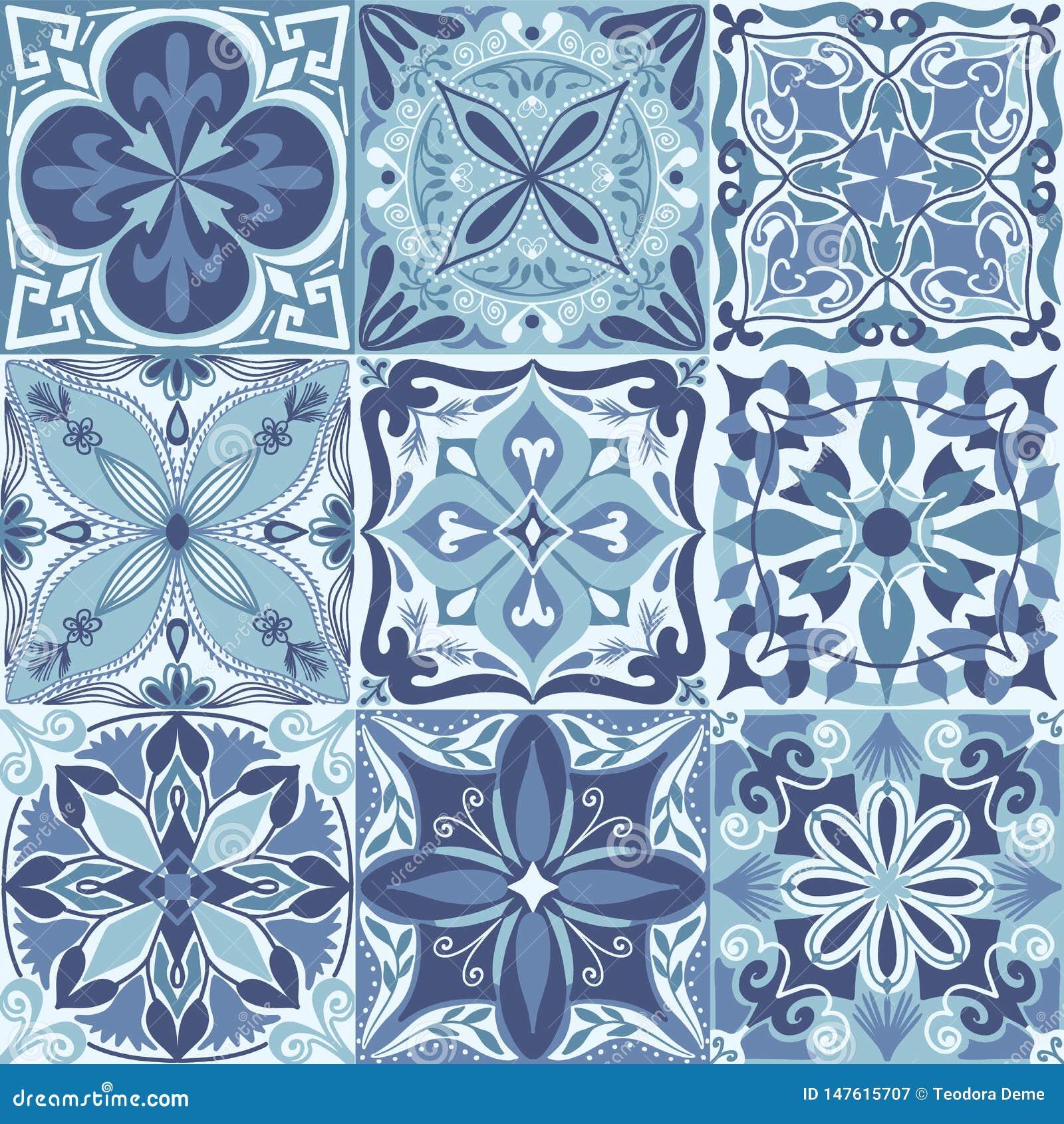 Διανυσματικό πορτογαλικό Azulejo κεραμώνει το άνευ ραφής υπόβαθρο σχεδίων