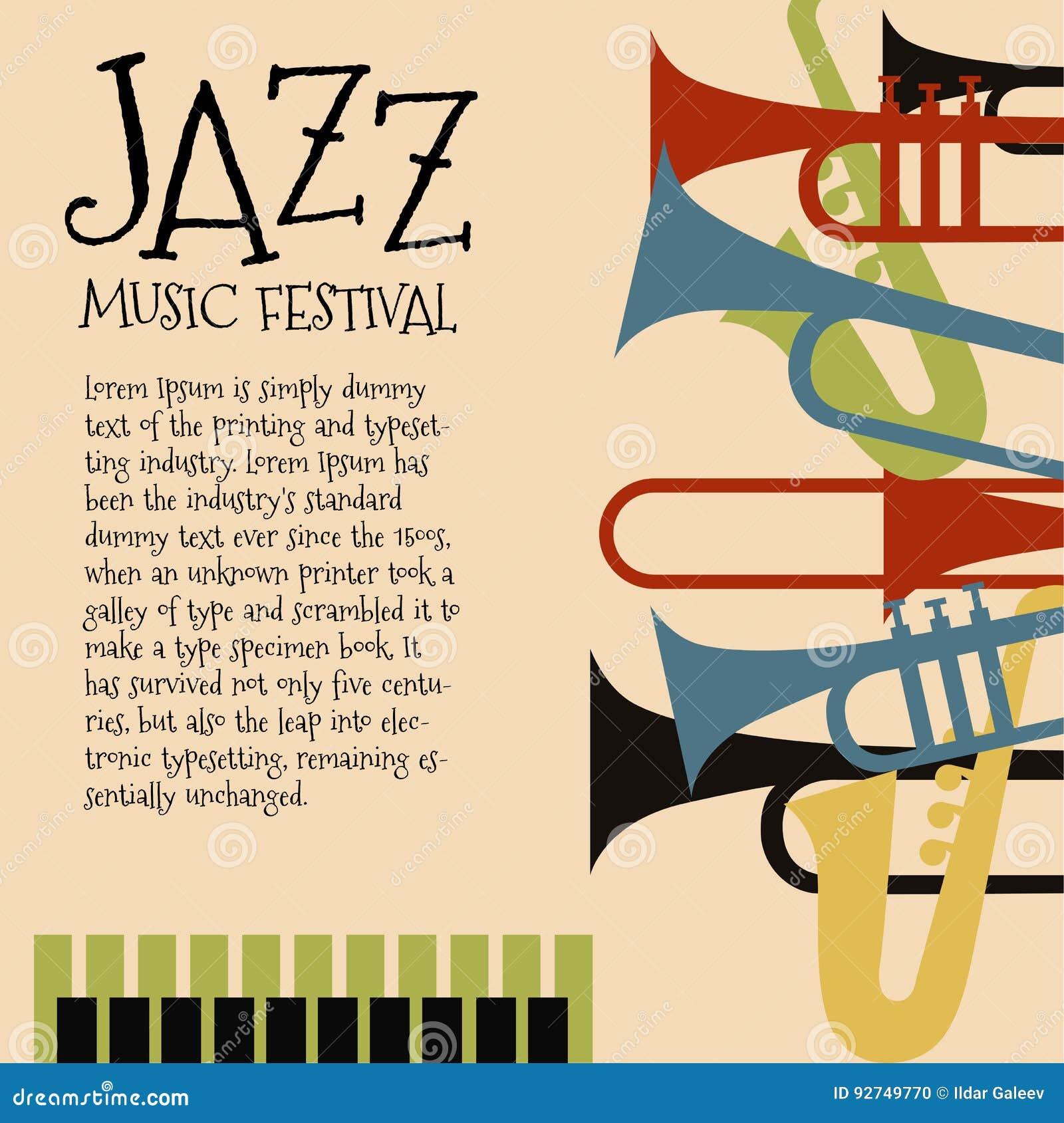 Διανυσματικό πρότυπο για την αφίσα συναυλίας τζαζ ή ιπτάμενο που χαρακτηρίζει τα ορχηστρικά όργανα