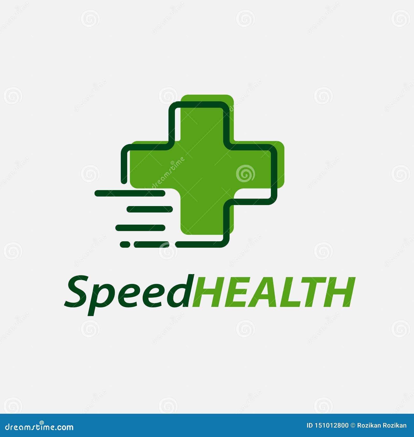 Διανυσματικό πρότυπο σχεδίου λογότυπων υγείας ταχύτητας