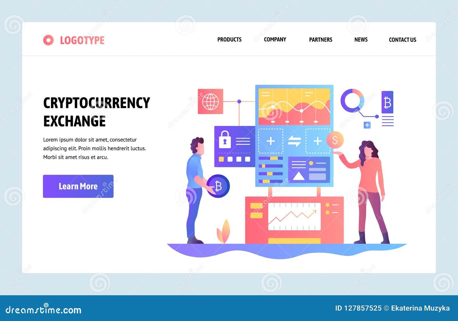 Διανυσματικό πρότυπο σχεδίου τέχνης ιστοχώρου γραμμικό Ανταλλαγή Cryptocurrency Bitcoin στην πλατφόρμα ανταλλαγής δολαρίων Προσγε