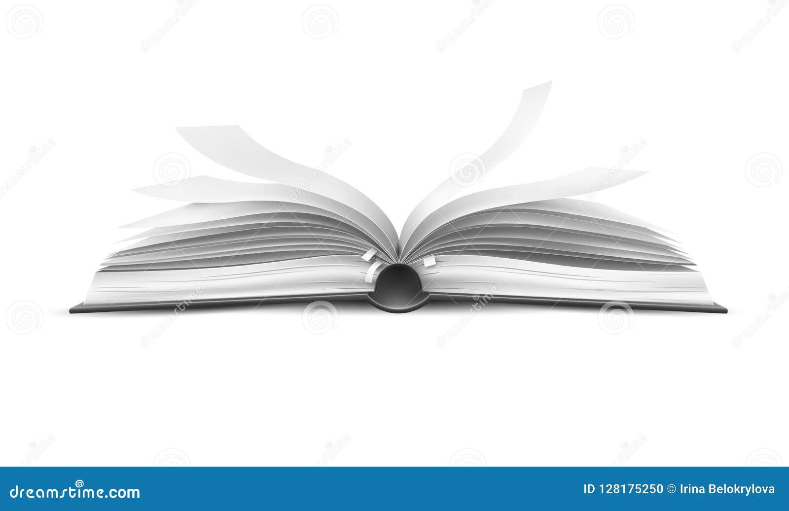 Διανυσματικό ρεαλιστικό ανοικτό βιβλίο με τις κυματίζοντας σελίδες