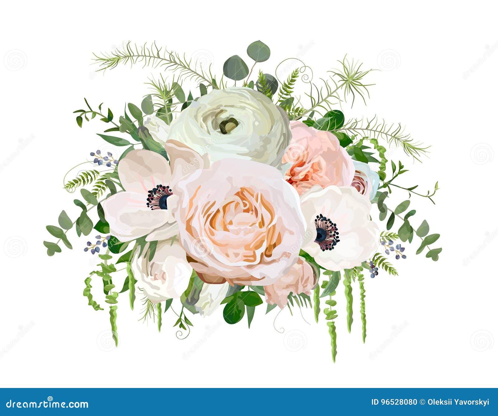Διανυσματικό στοιχείο αντικειμένου σχεδίου ανθοδεσμών λουλουδιών Ρόδινος κήπος Ρ ροδάκινων