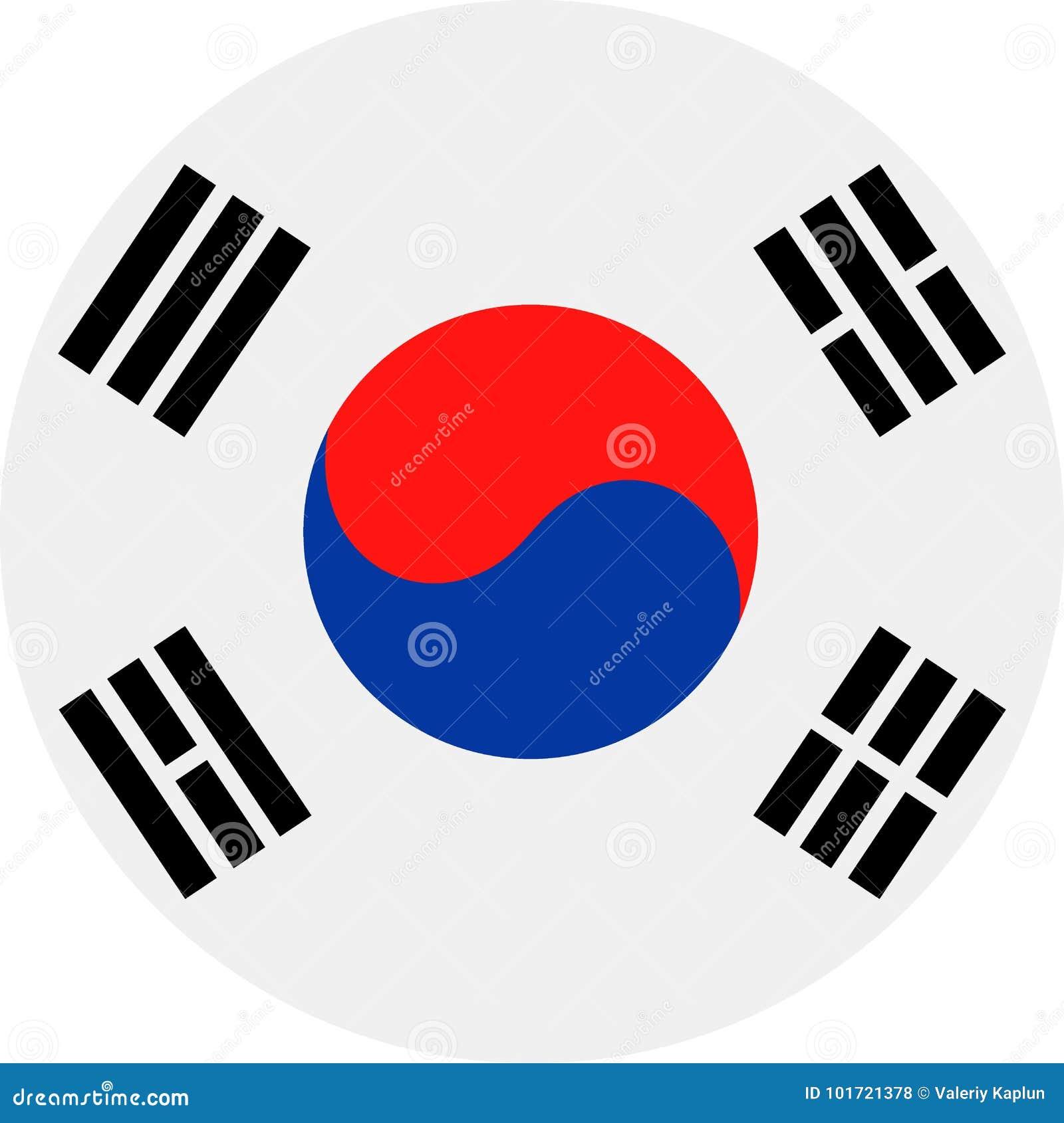 Διανυσματικό στρογγυλό επίπεδο εικονίδιο σημαιών της Νότιας Κορέας