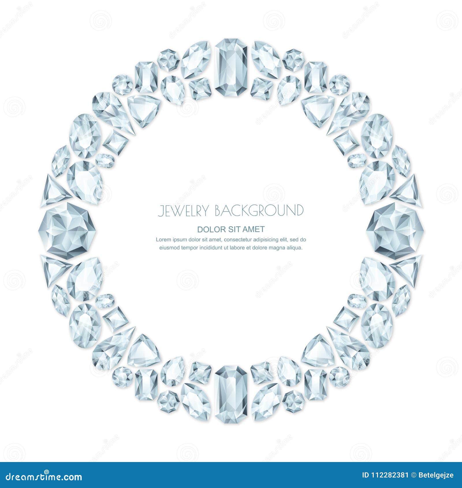 26f3668b26 Διανυσματικό στρογγυλό πλαίσιο από τους ρεαλιστικούς ασημένιους πολύτιμους  λίθους και τα κοσμήματα στο άσπρο υπόβαθρο Λαμπρά στοιχεία σχεδίου  κοσμήματος ...